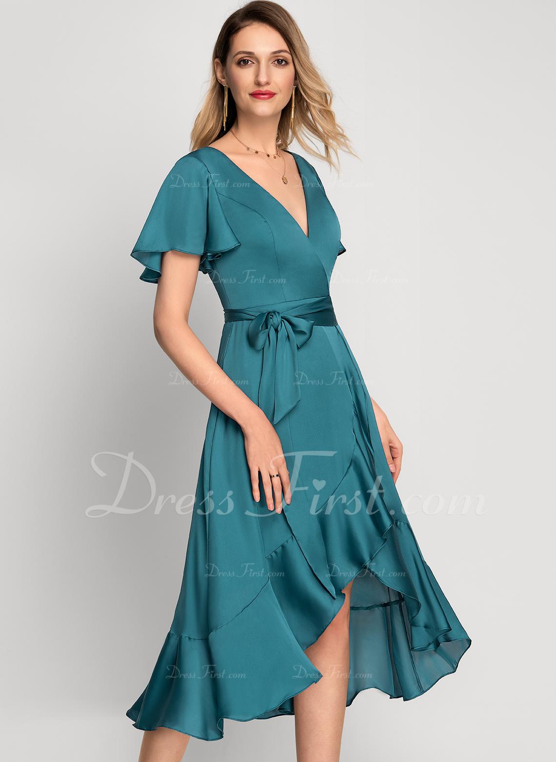 Sukienka Trapezowa Krótkie rękawy Asymetryczny Romantyczny Elegancki Modne Suknie
