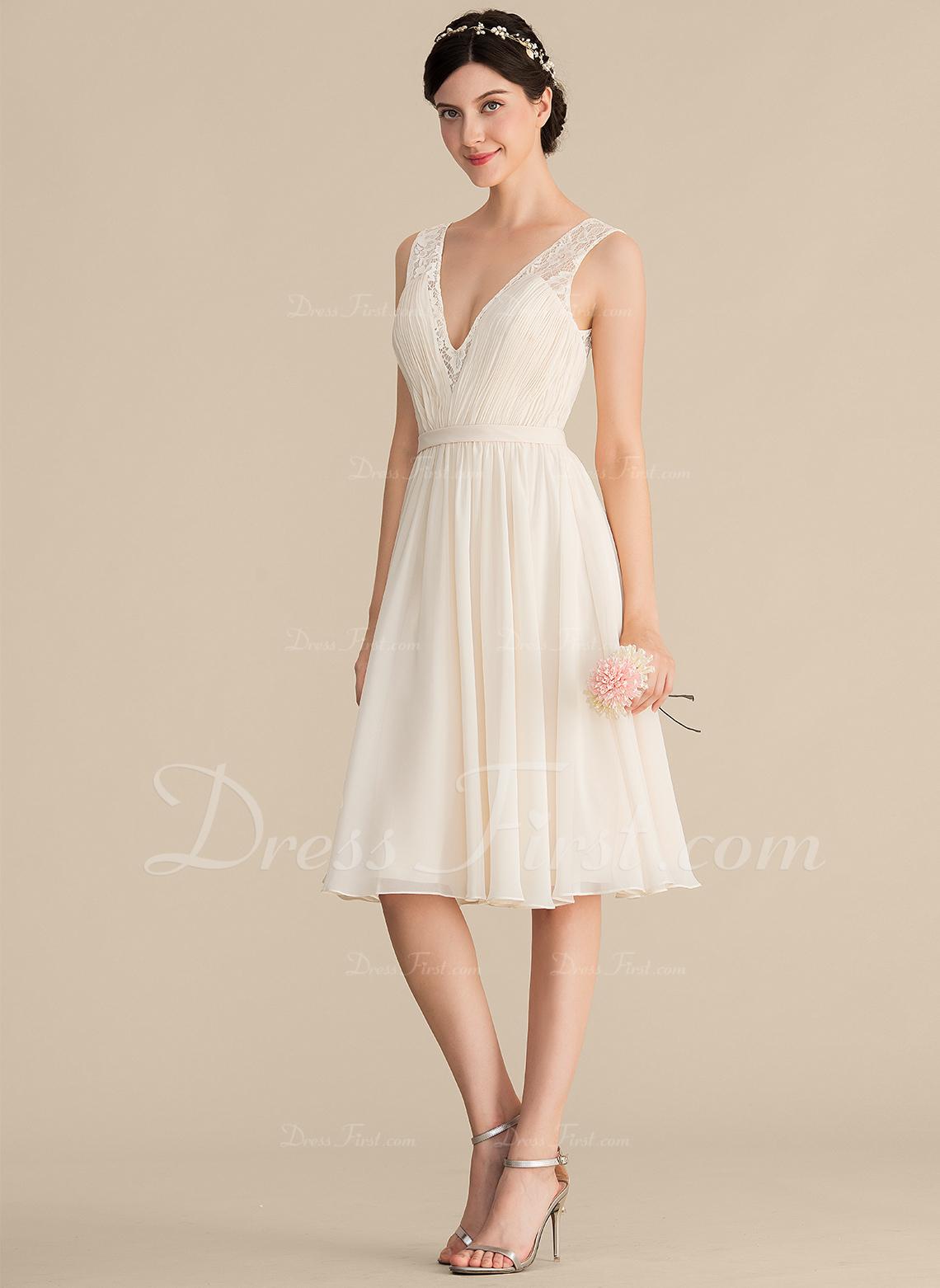 1e94f92883b7e Loading zoom. Loading. Color: As Picture. A-Line/Princess V-neck Knee-Length  Chiffon Lace Bridesmaid Dress ...