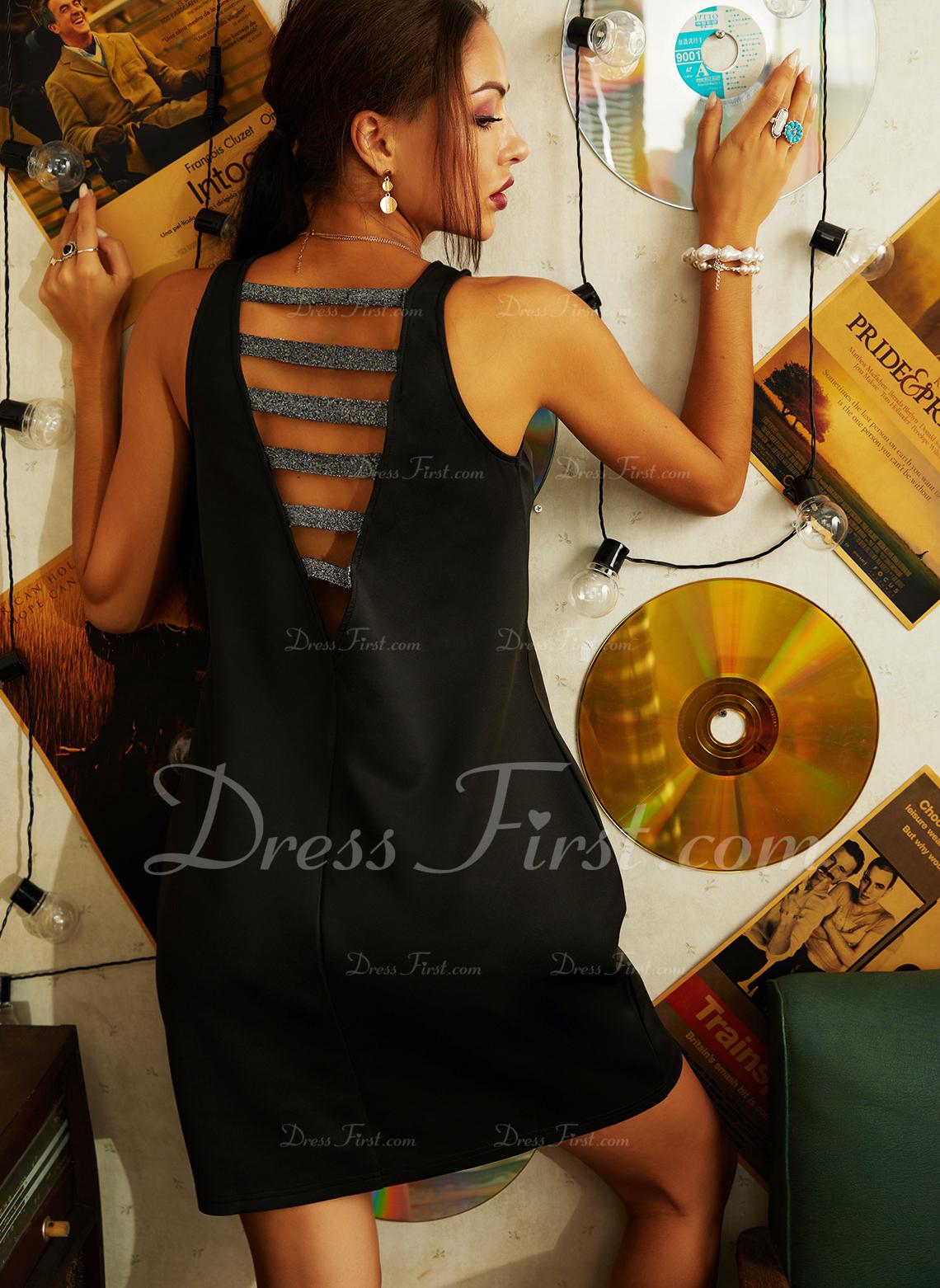 Paillettes Couleur Unie Fourreau Sans Manches Mini Fête Sexy Robes tendance