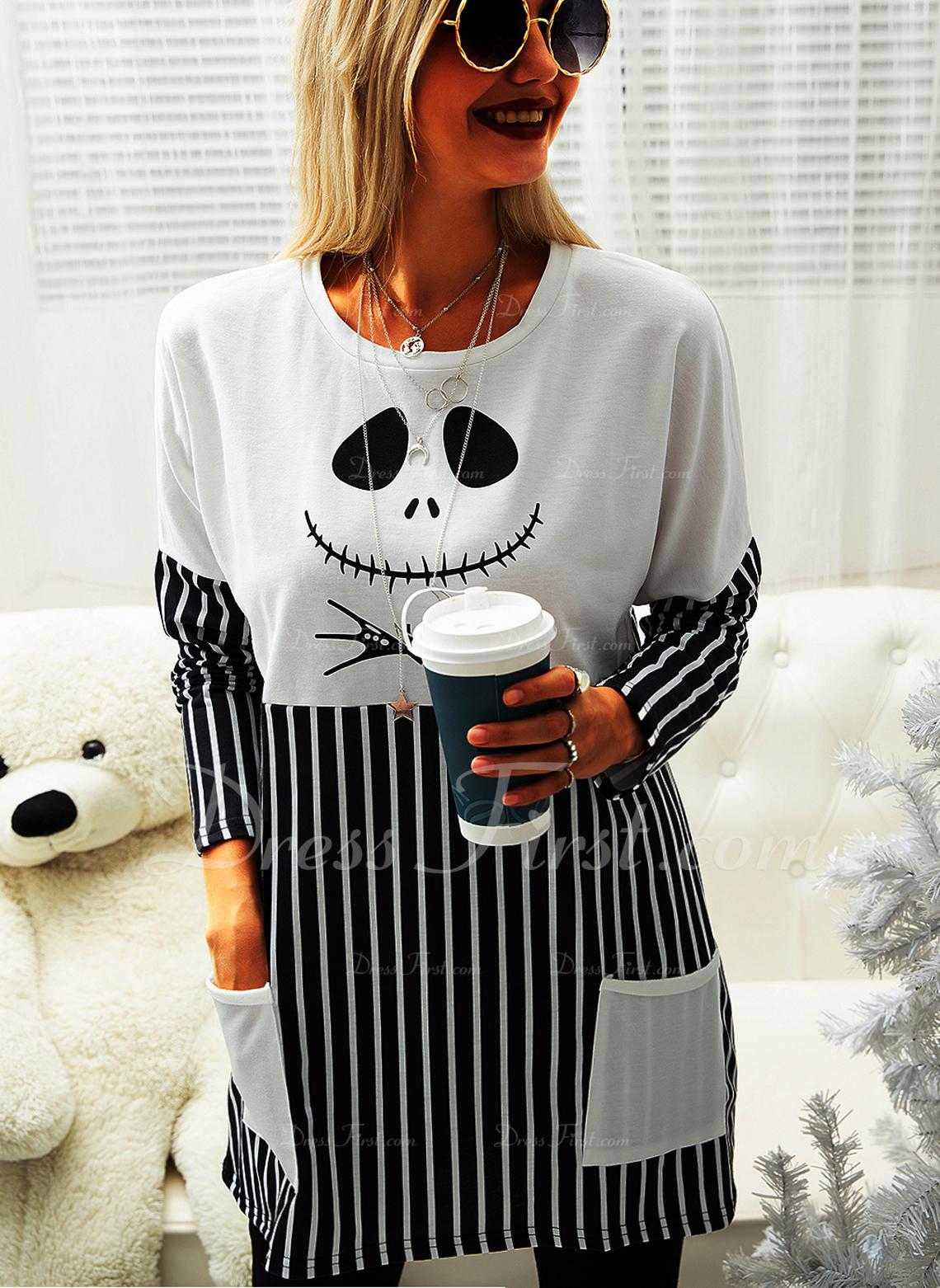 Print Stribe Halloween Rund hals Lange ærmer Sweatshirts