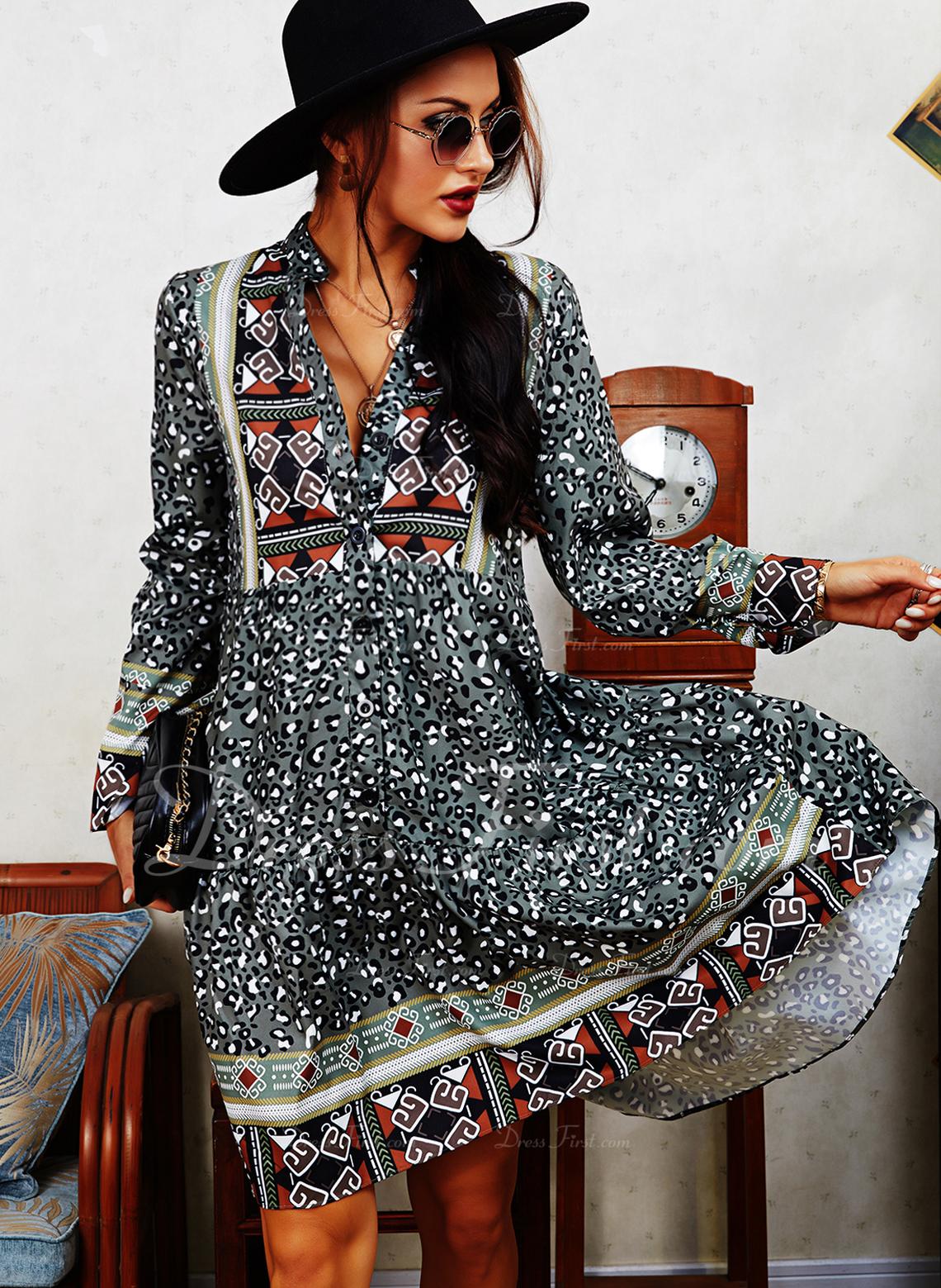 Leopard Print Shiftklänningar Långa ärmar Mini Boho Fritids Tunika Modeklänningar