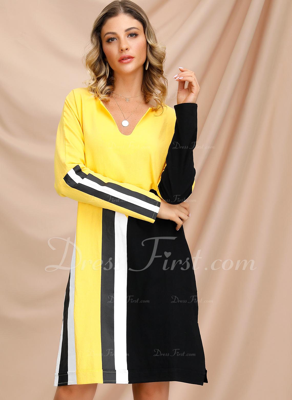 Color Block Striped Shift Long Sleeves Midi Casual Tunic Dresses