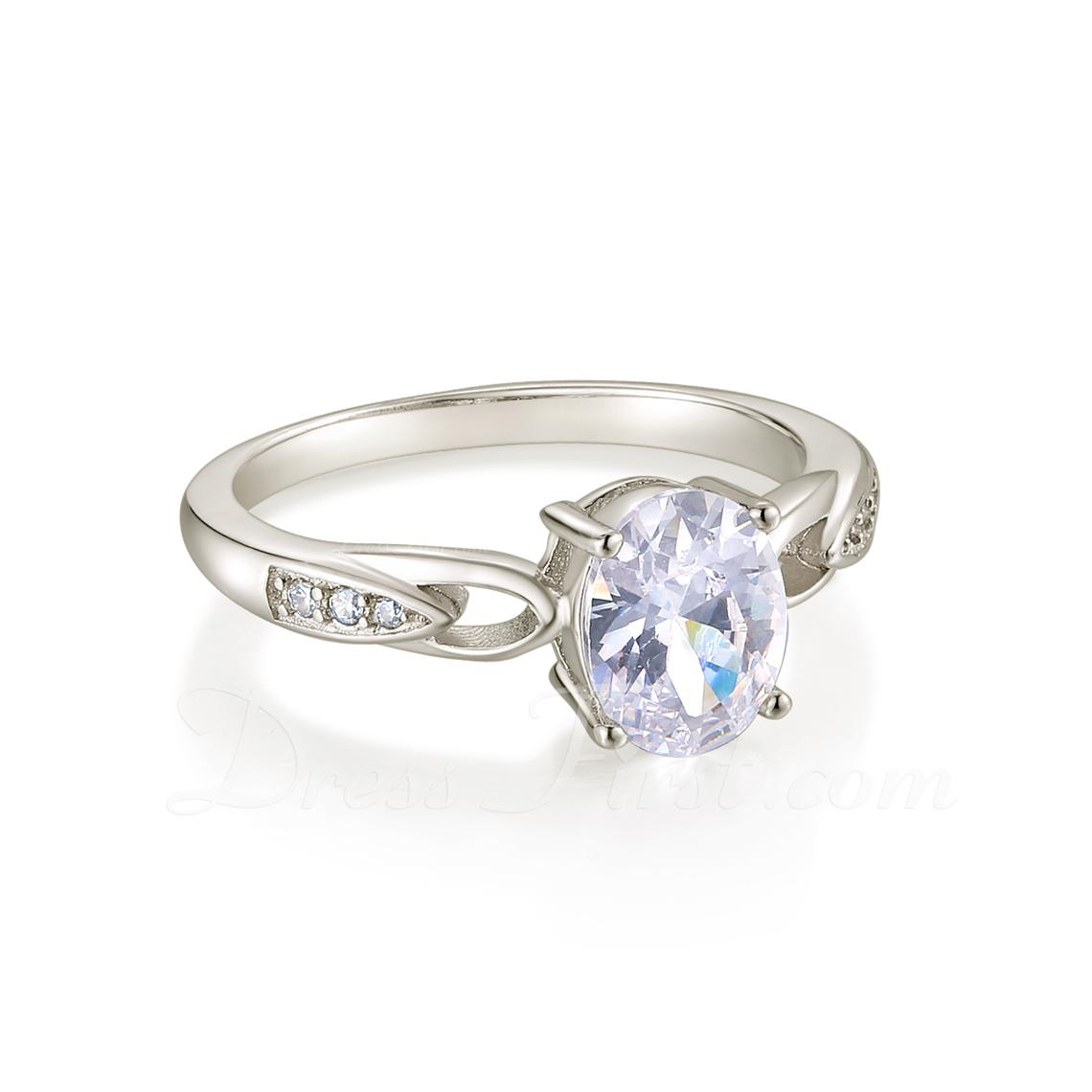 Sterling zilver Zirconia Sierlijk Met Elkaar Verweven Ovale Snit Verlovings ringen Belofte ringen -