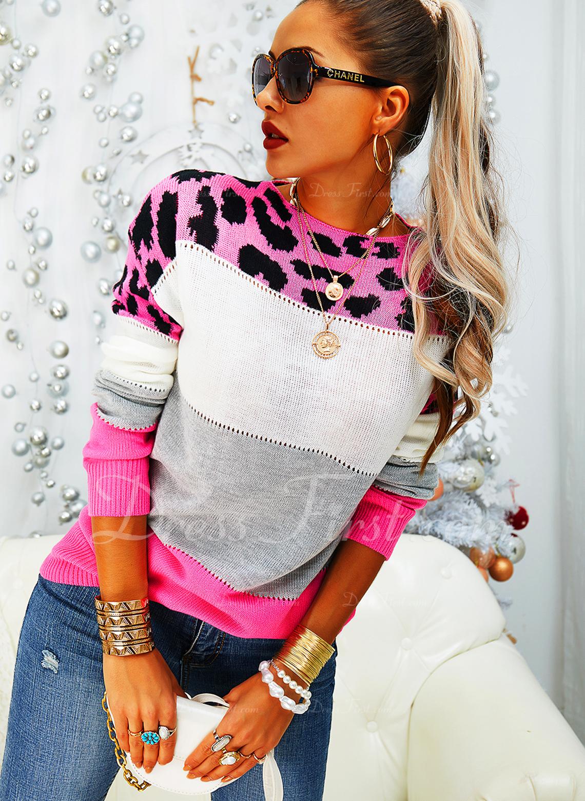 Rundhalsausschnitt Lässige Kleidung Leopard Farbblock Pullover