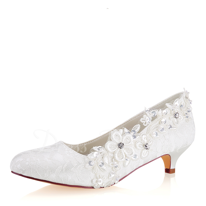 971af3819b Loading zoom. Loading. Color: Ivory. Women's Lace Silk Like Satin Kitten  Heel Closed Toe With Stitching ...