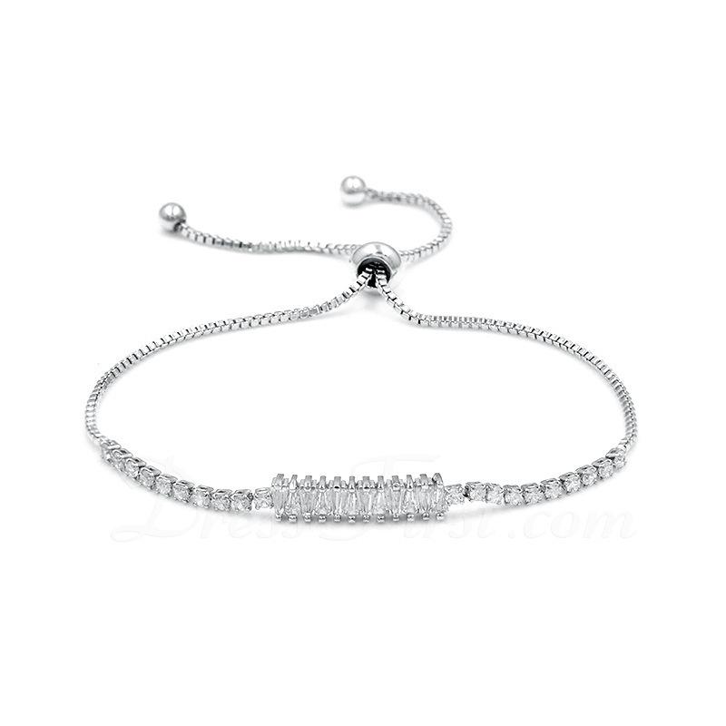 Antioxidante Declaración Cadena de enlace Bracelets De Mariée Bracelets de demoiselle .d'honneur con Cubic zirconia -