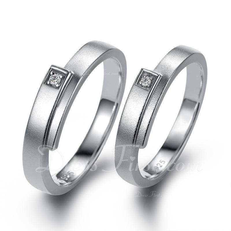 Sterling zilver Zirconia Ronde Snede Paar ringen