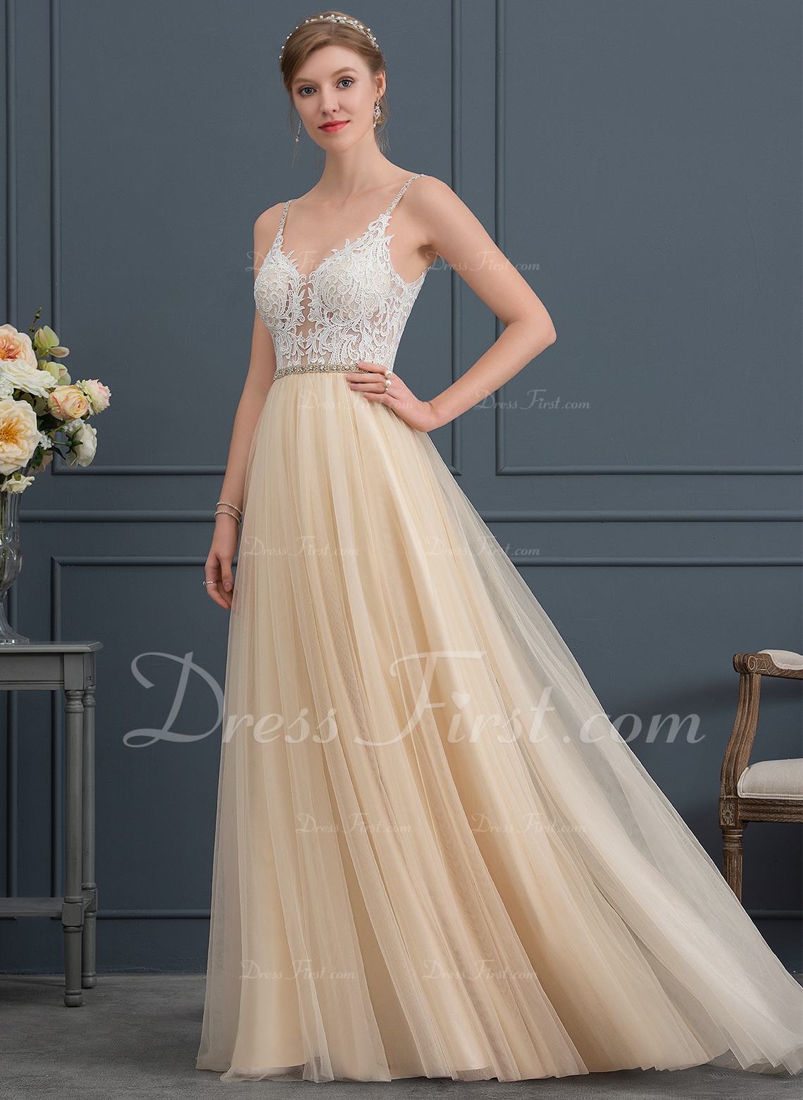 A-Line V-neck Sweep Train Tulle Wedding Dress With Beading