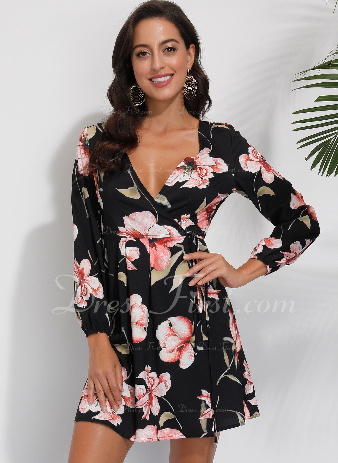Over Knee V-hals Polyester Print Lange ærmer Mode kjoler