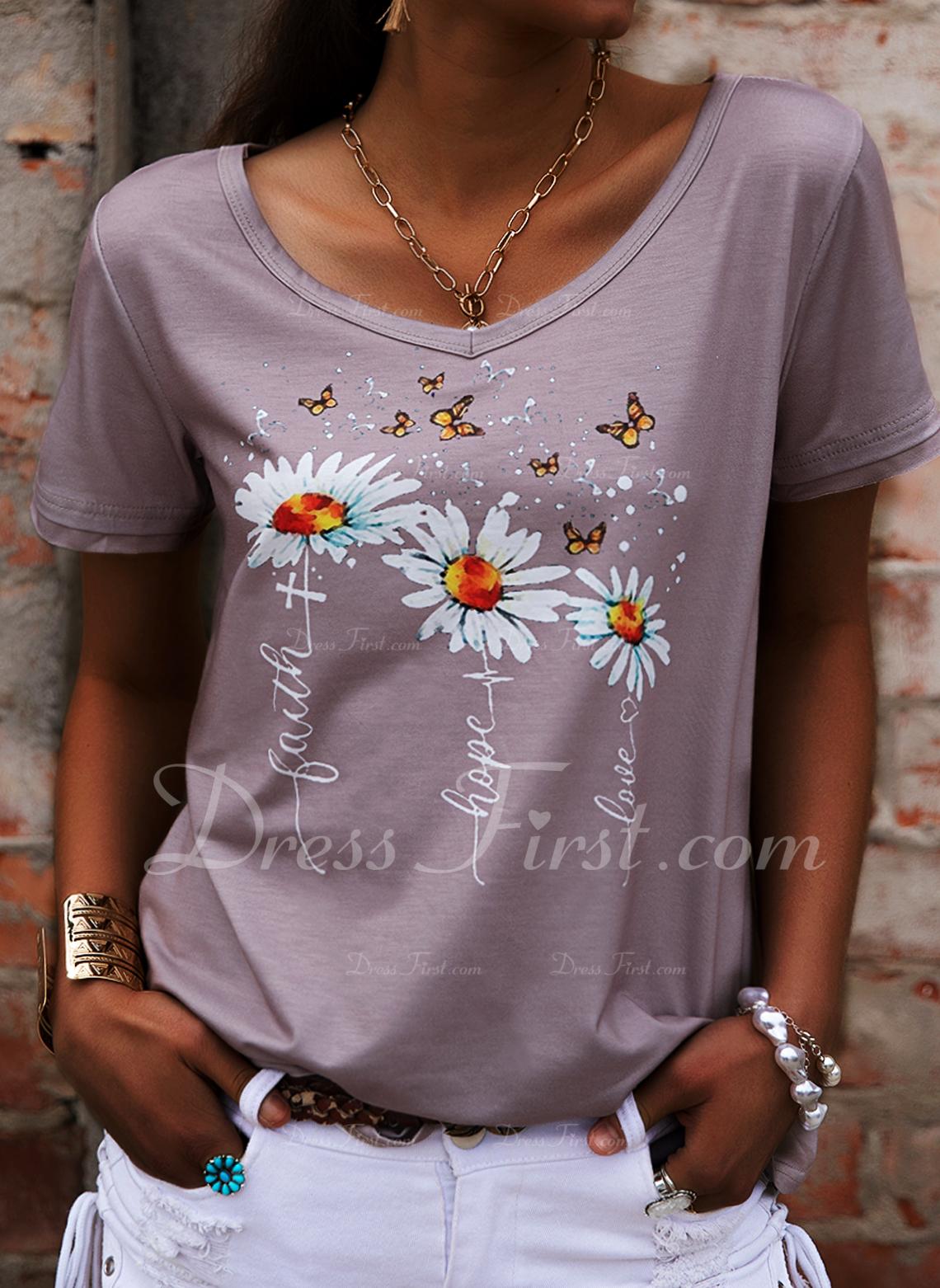 Floral Print V-Neck Short Sleeves Casual T-shirt