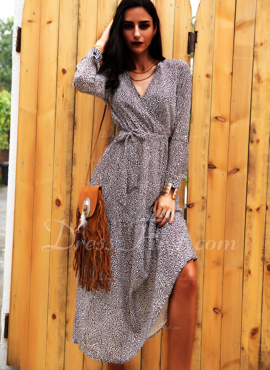 Print Kjole med A-linje Lange ærmer Midi Casual skater Wrap Mode kjoler