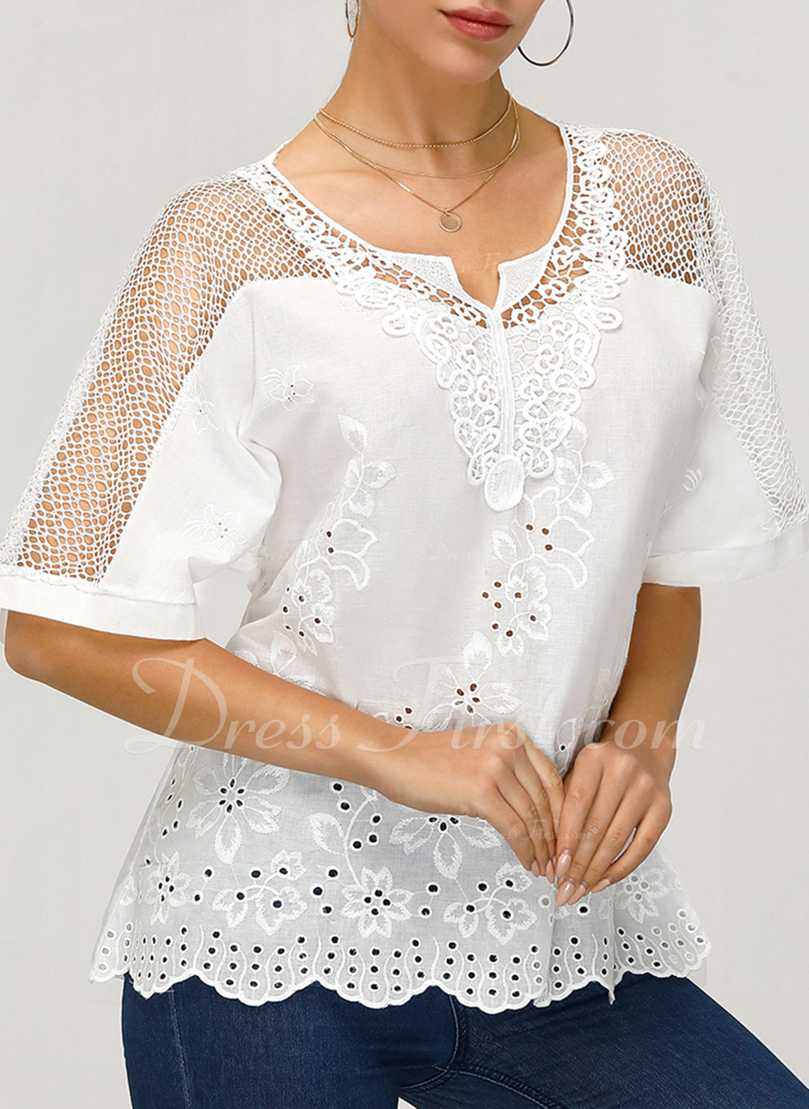 Lace V-Neck Short Sleeves Casual