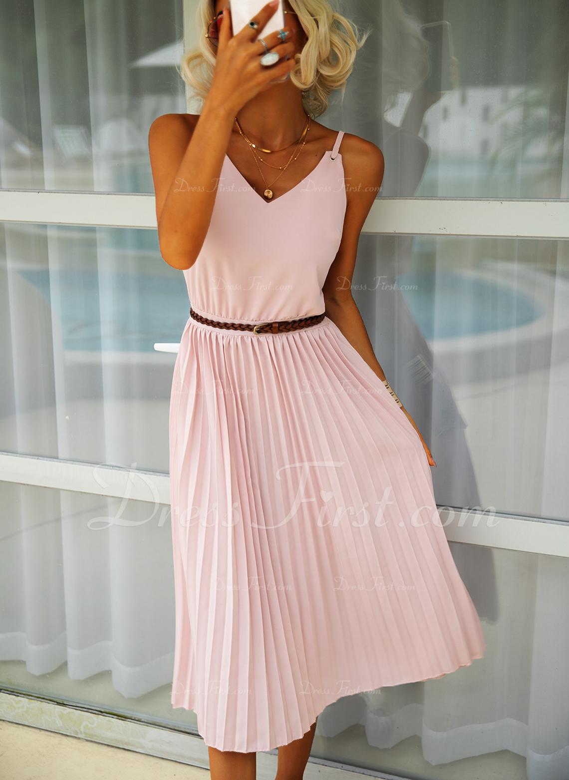 Solid A-linjeklänning Ärmlös Midi Fritids Modeklänningar