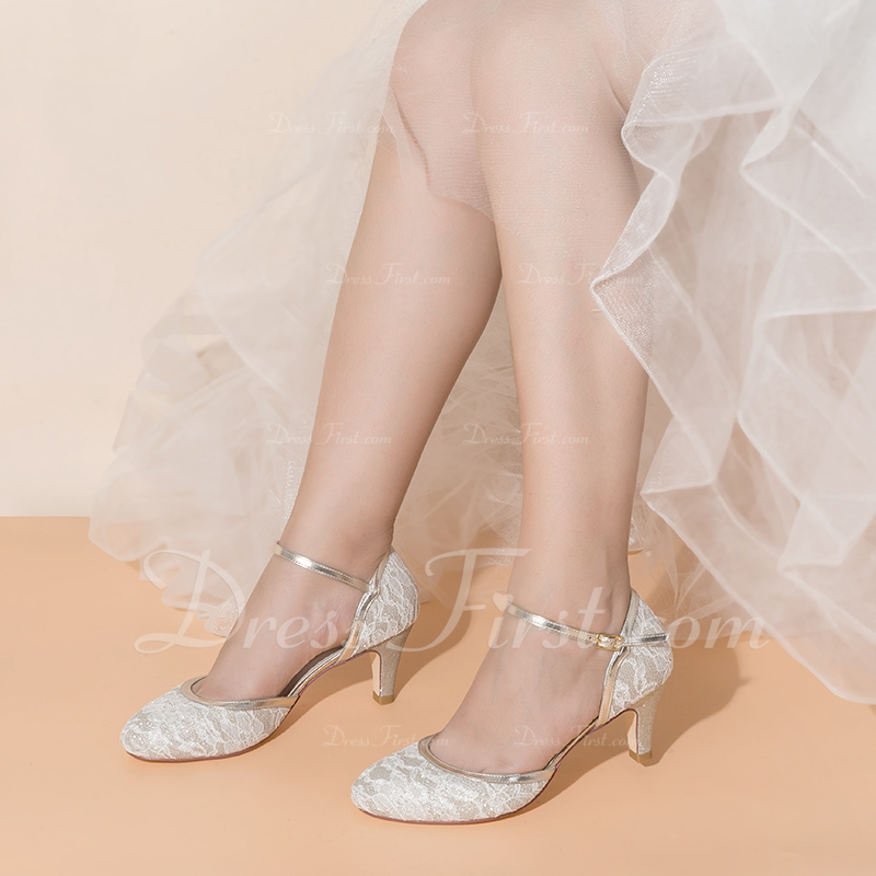 Women's Lace Sparkling Glitter Low Heel Closed Toe With Buckle