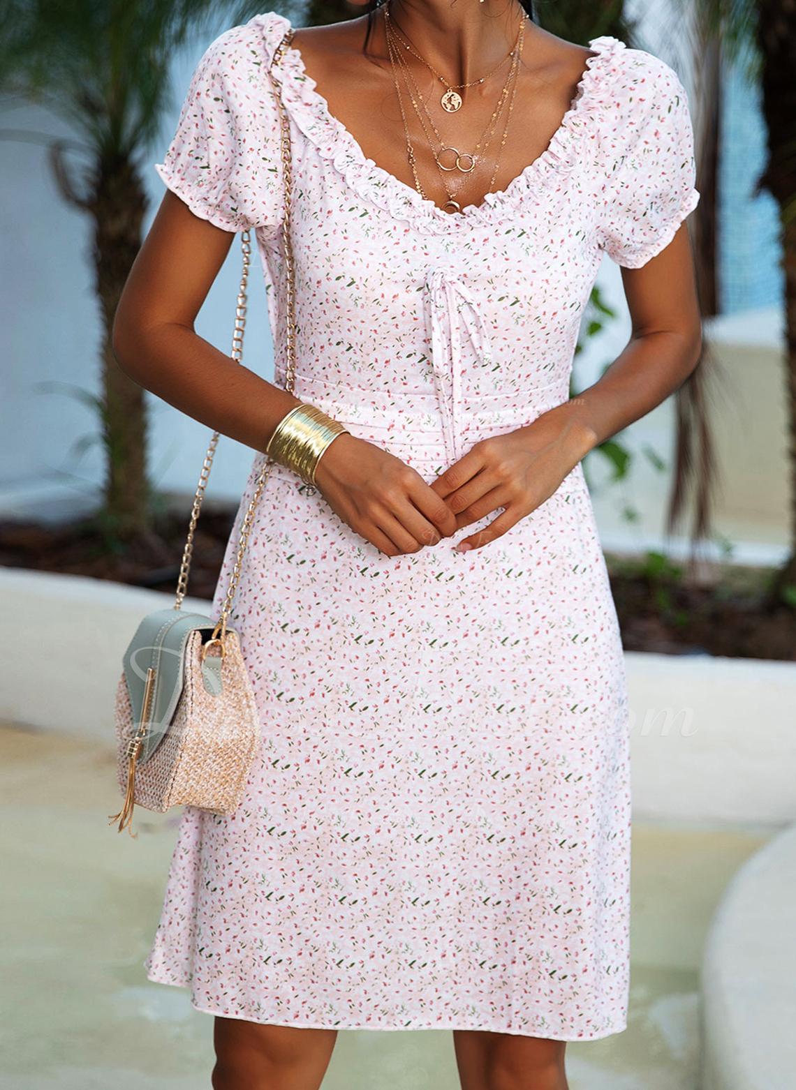 Květiny Tisk Pouzdrové Nadýchané rukávy Krátké rukávy Mini Neformální Módní šaty