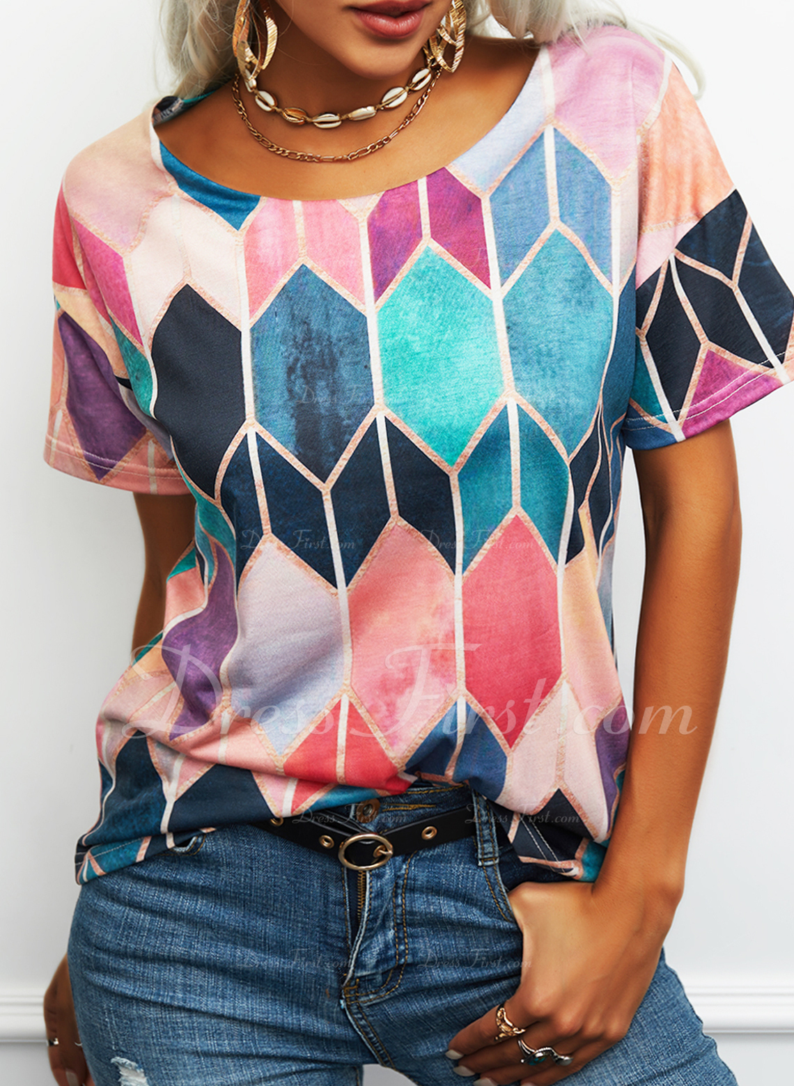 estampado geométrico Cuello Redondo Manga Corta Casual camiseta