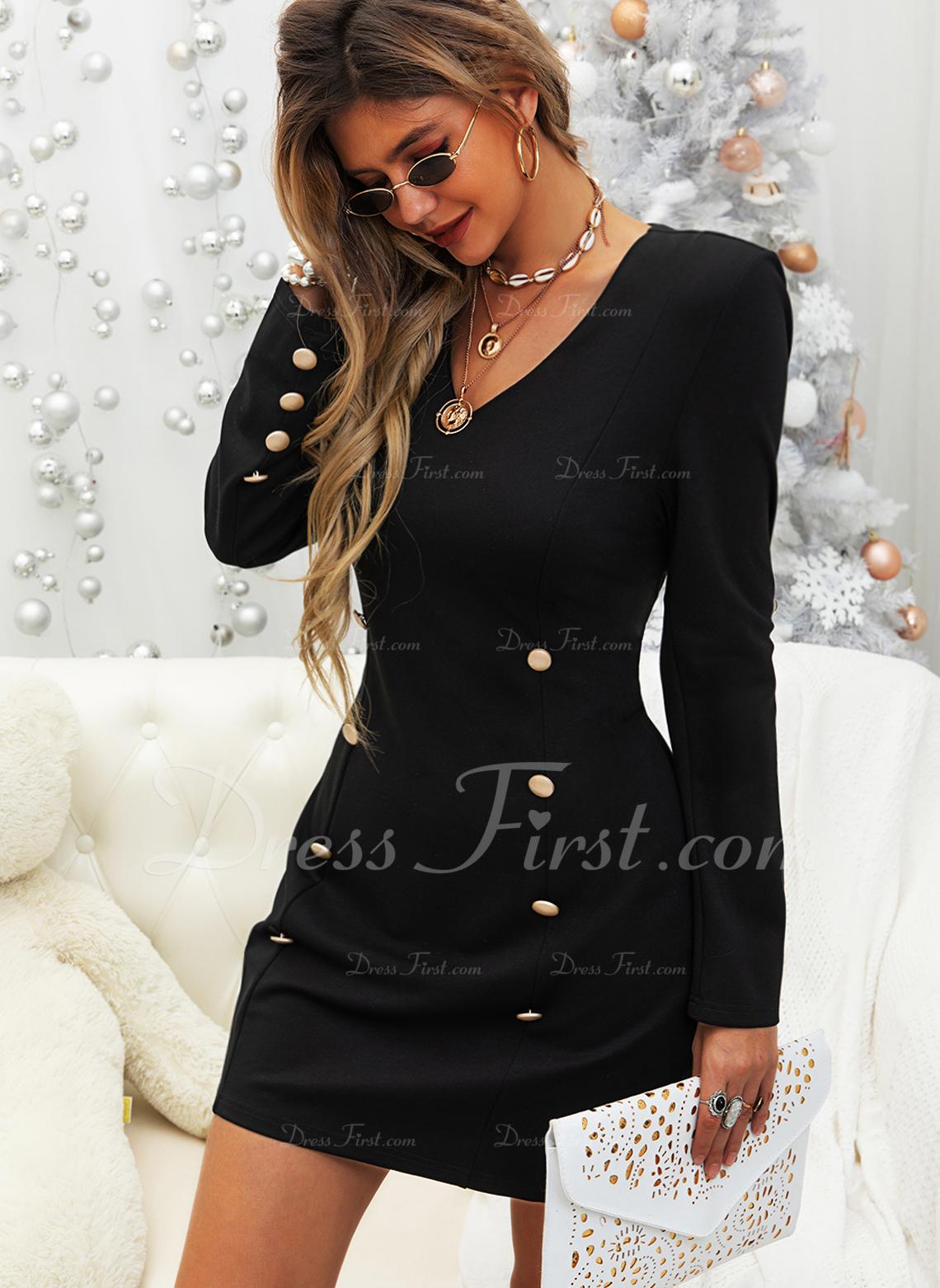 Solid Bodycon Lange ærmer Mini Den lille sorte Elegant Mode kjoler