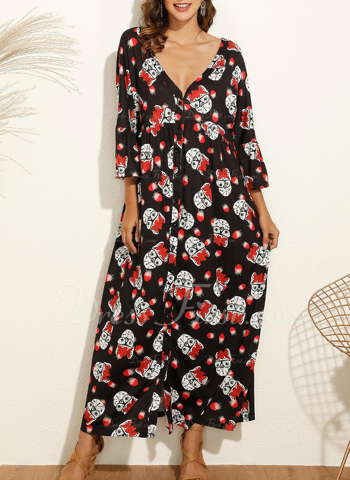 Floral Print Shift Long Sleeves Maxi Boho Casual Vacation Dresses
