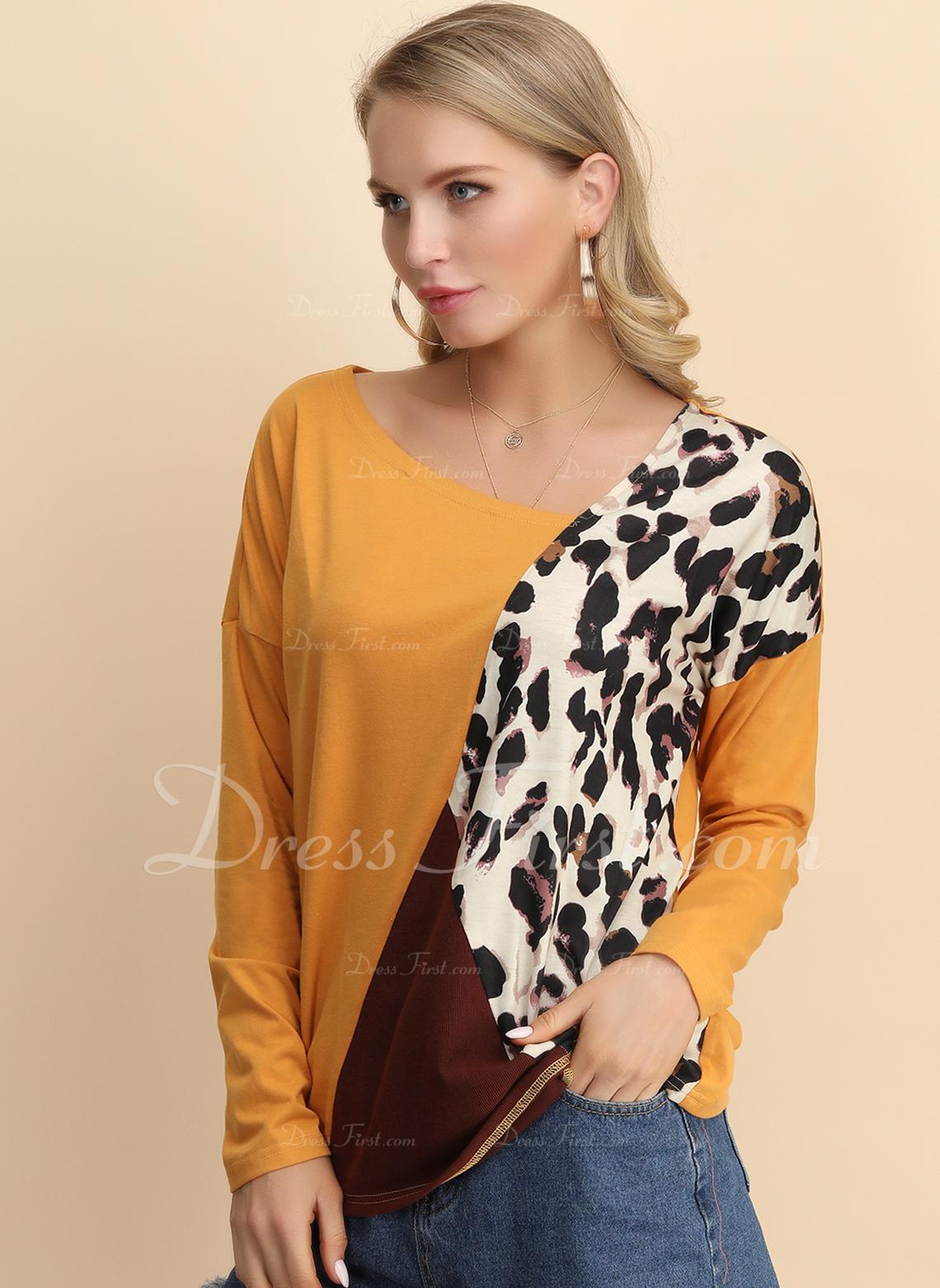 Leopardo Trozos de color Cuello en V Manga Larga Casual camiseta