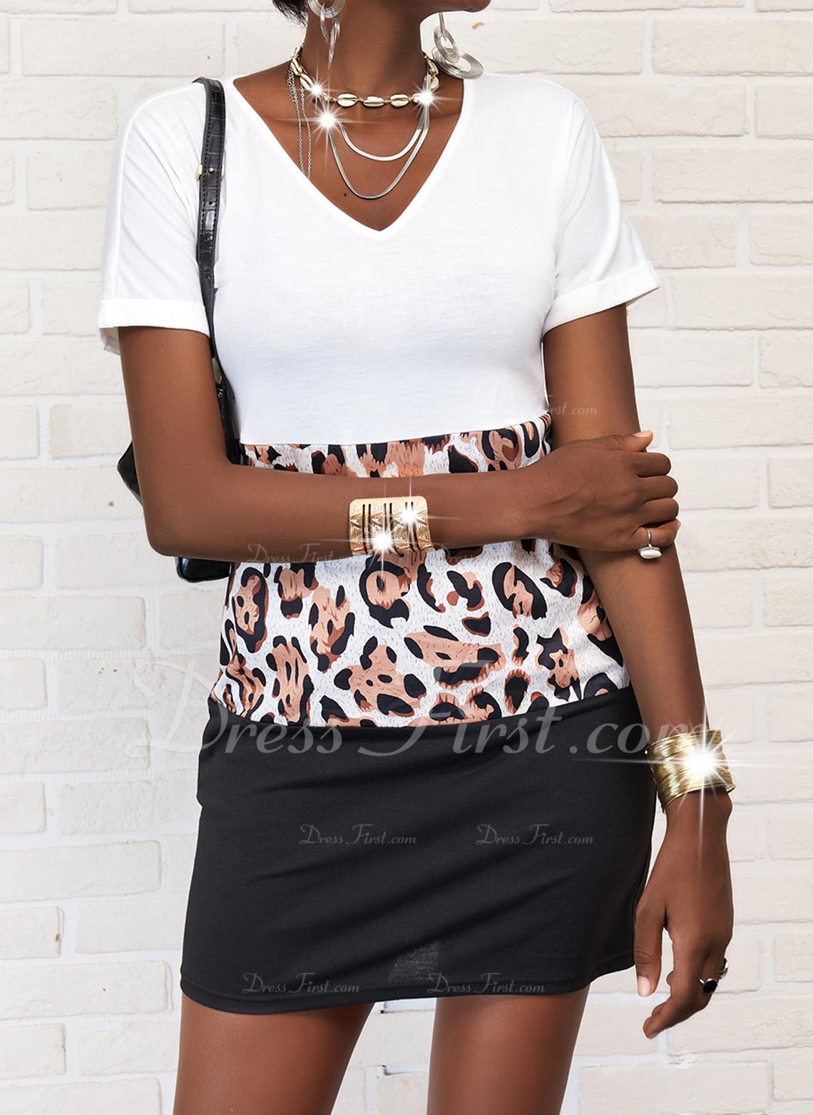 Leopardo Trozos de color Vestidos sueltos Manga Corta Mini Casual camiseta Vestidos de moda
