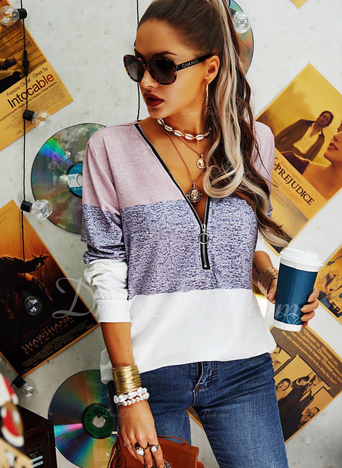 Color Block V-Neck Long Sleeves Casual Blouses