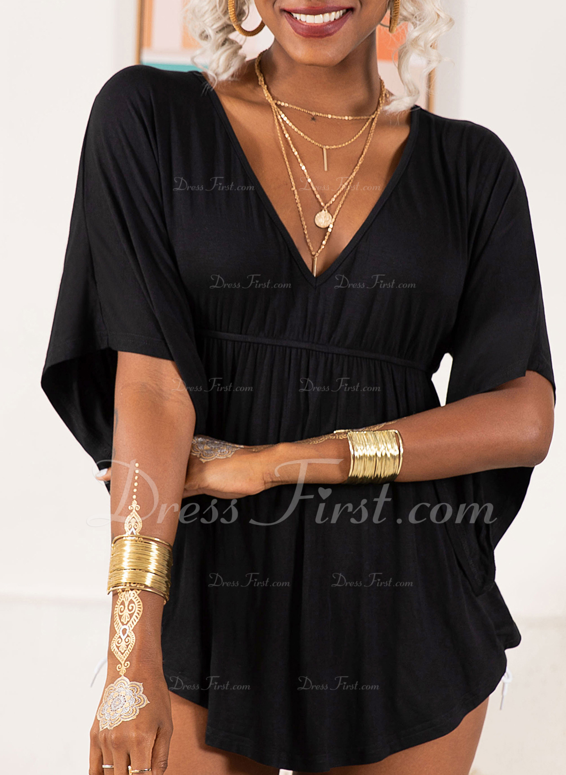 Solid V-Neck 1/2 Sleeves Casual Plus Size Blouses