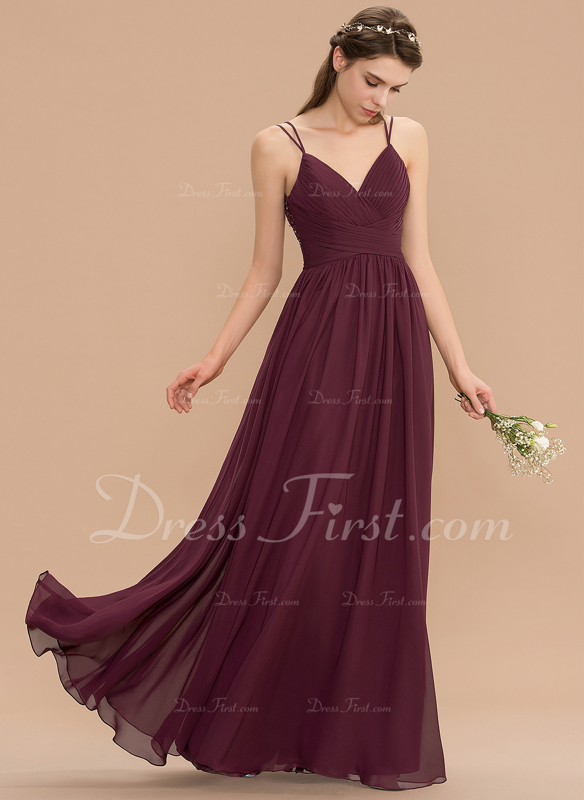 b6796f50655 Loading zoom. Loading. Color  Claret. A-Line V-neck Floor-Length Chiffon  Lace Bridesmaid Dress With Ruffle ...