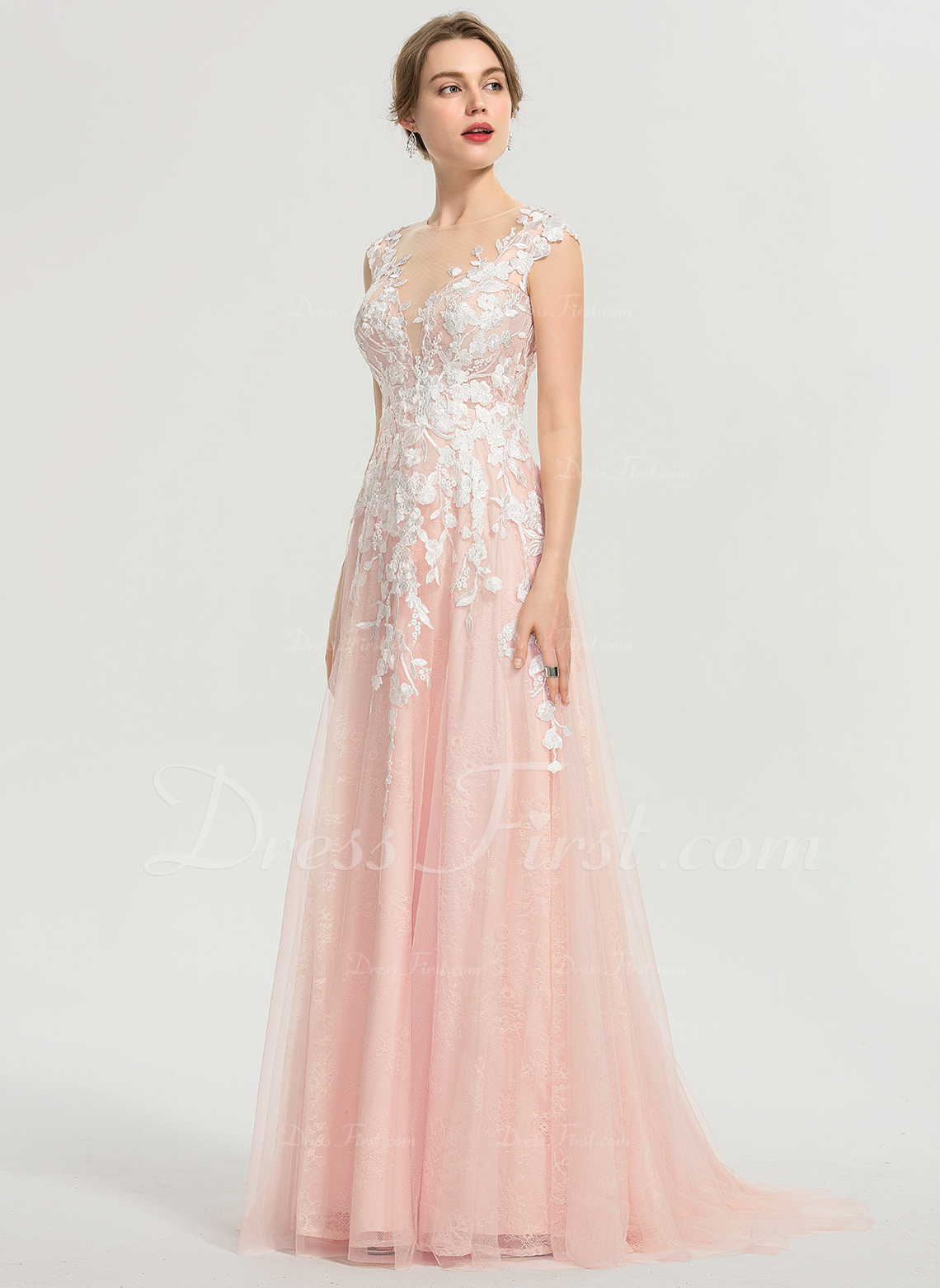 A-Line Scoop Neck Sweep Train Tulle Prom Dresses