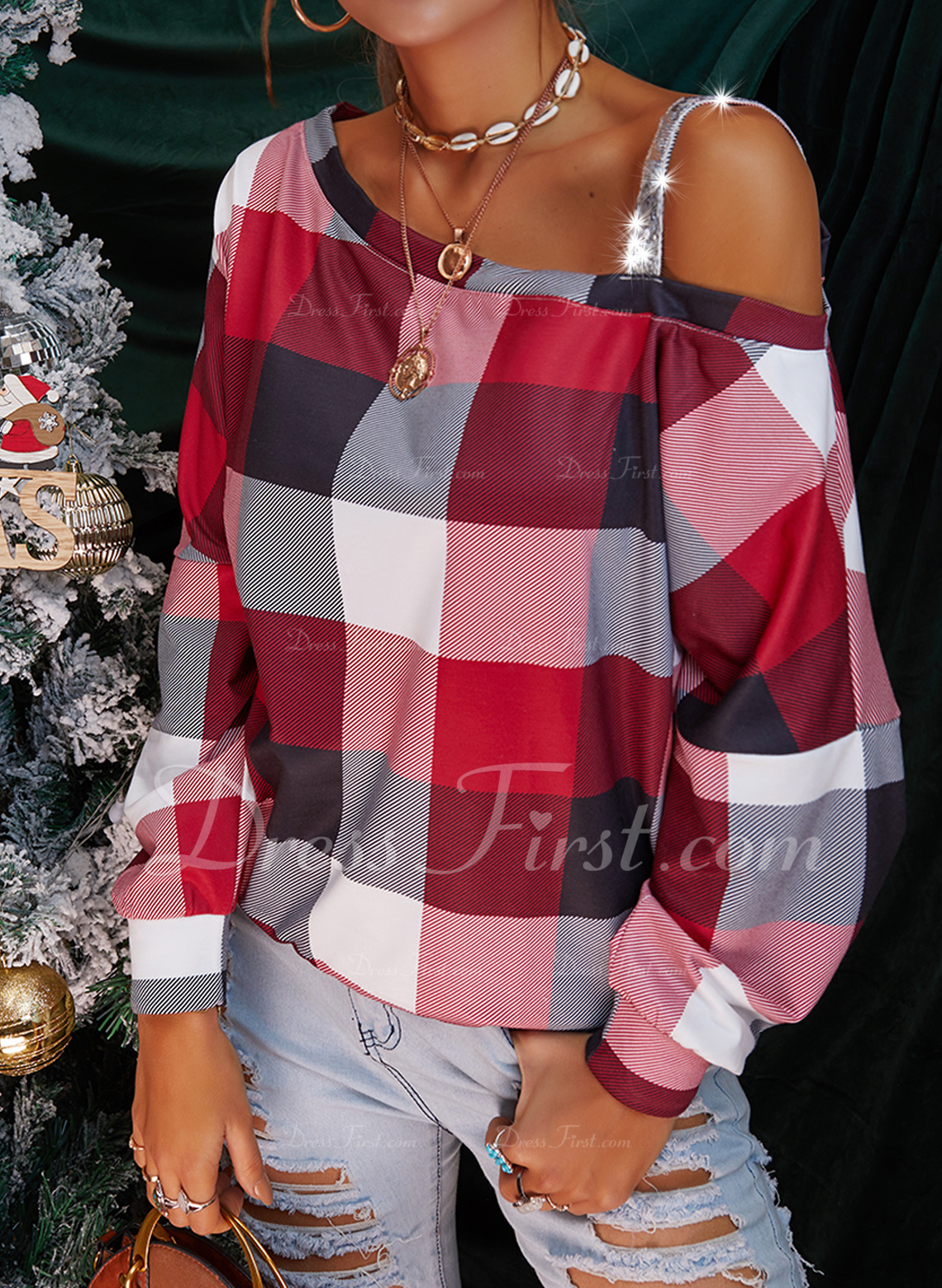 Sequins Plaid One Shoulder Long Sleeves Casual Blouses