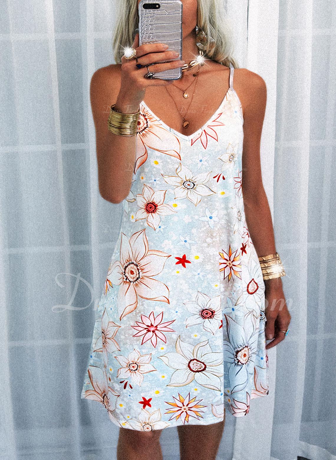 Floral Impresión Vestido línea A Sin mangas Mini Casual Vacaciones Patinador Tipo Vestidos de moda