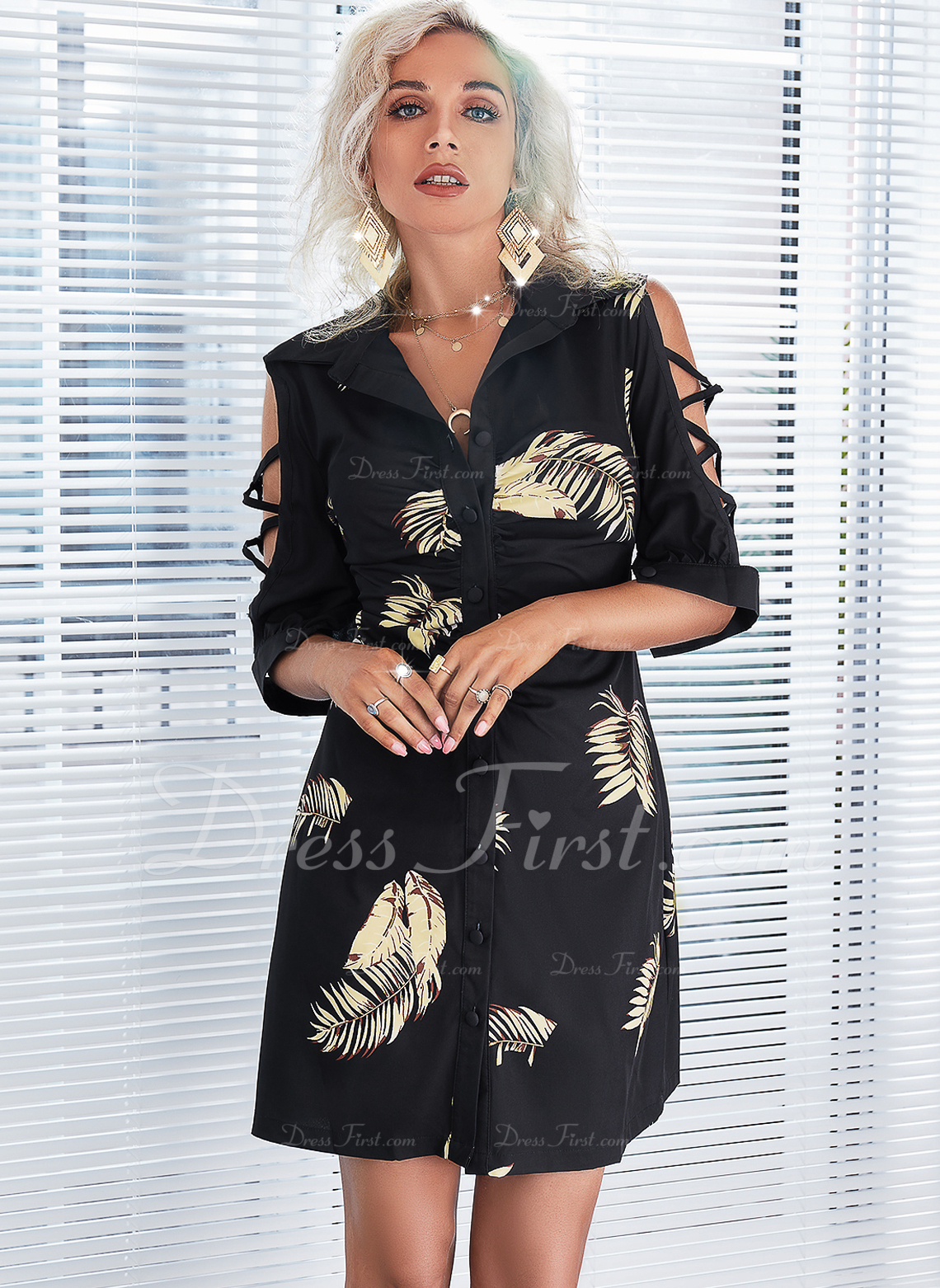 Impresión Cubierta Mangas 1/2 Mini Casual Camisa Vestidos de moda