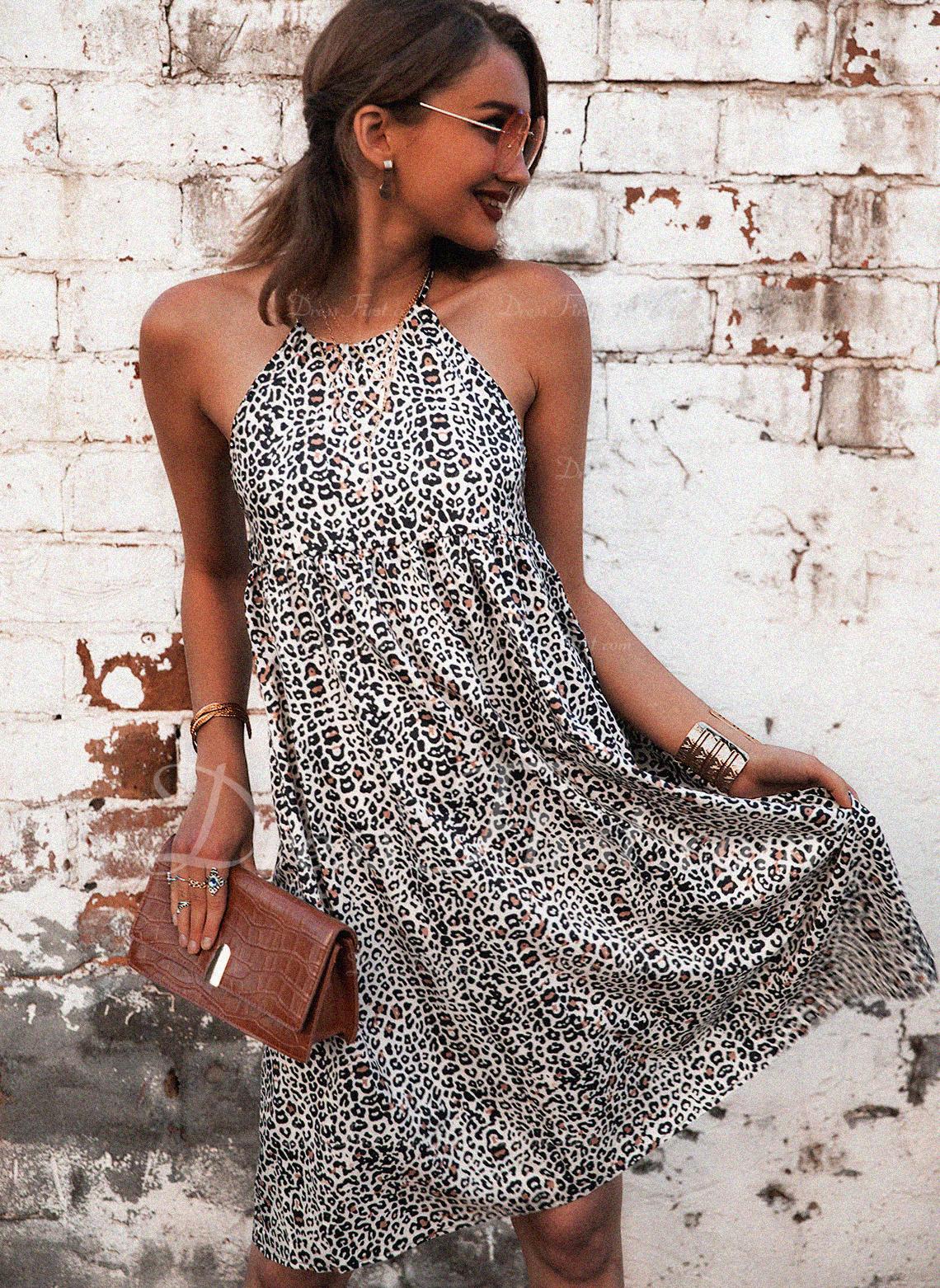 leopardo Stampa Abiti dritti Senza maniche Mini Casuale Vestiti di moda