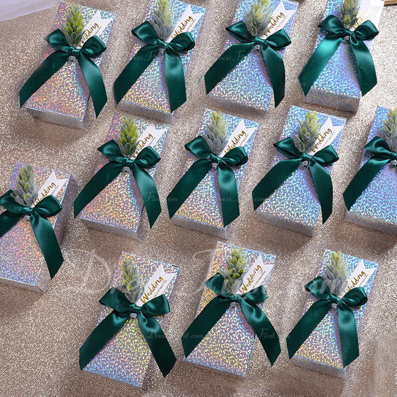 Classic Cuboid Card Paper Favor Boxes & Containers With Ribbons (Set of 10)