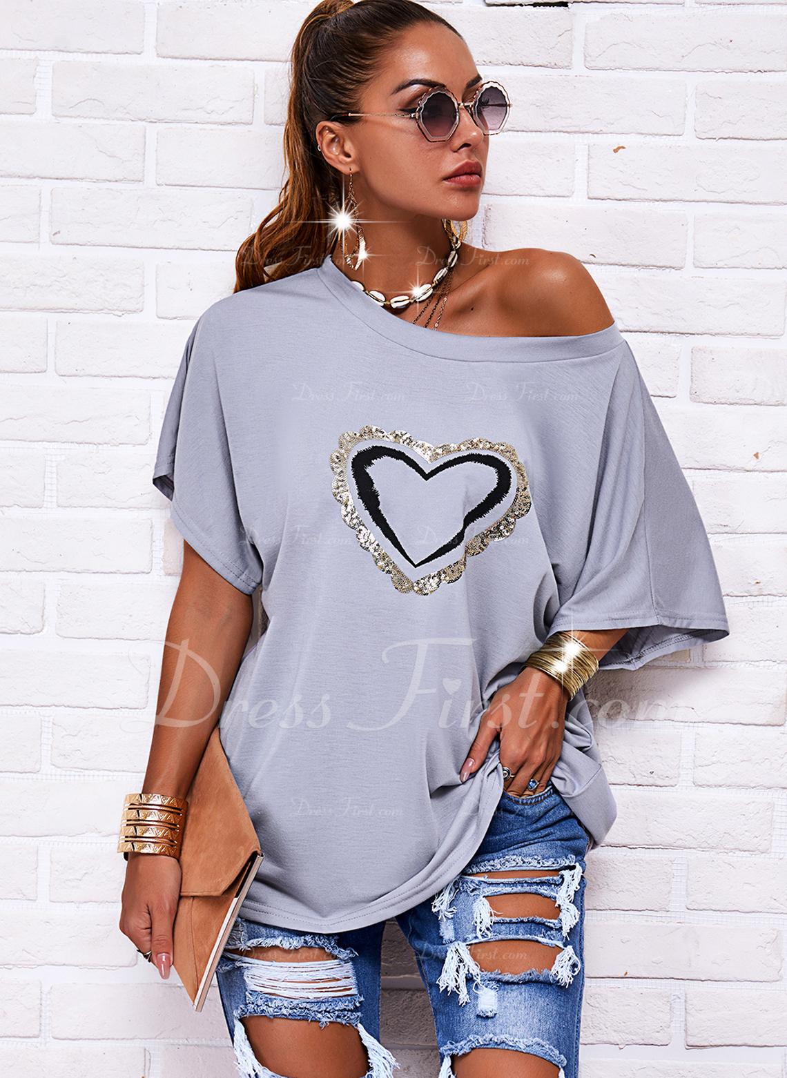 Impresión Corazón Cuello Redondo Manga Corta Casual Blusas