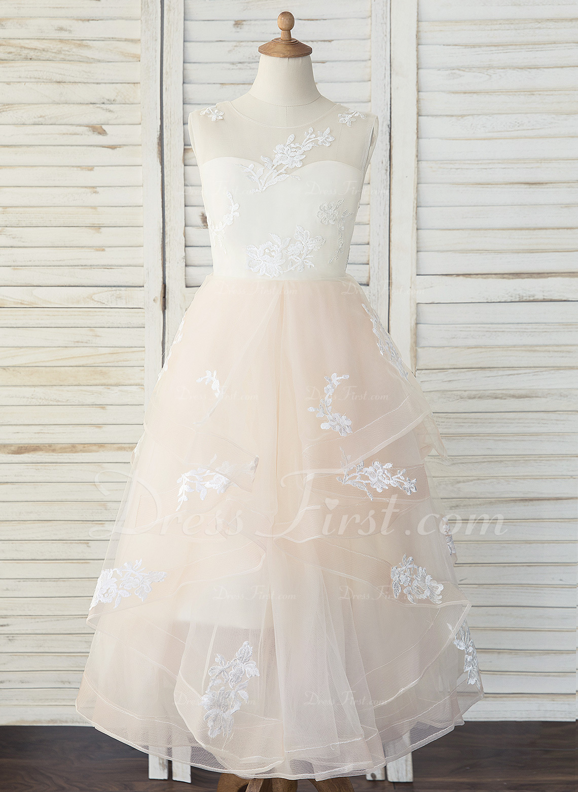 2dd5af56a9cf9 Loading zoom. Loading. Color: As Picture. A-Line Floor-length Flower Girl  Dress - Tulle/Lace Sleeveless Scoop Neck ...