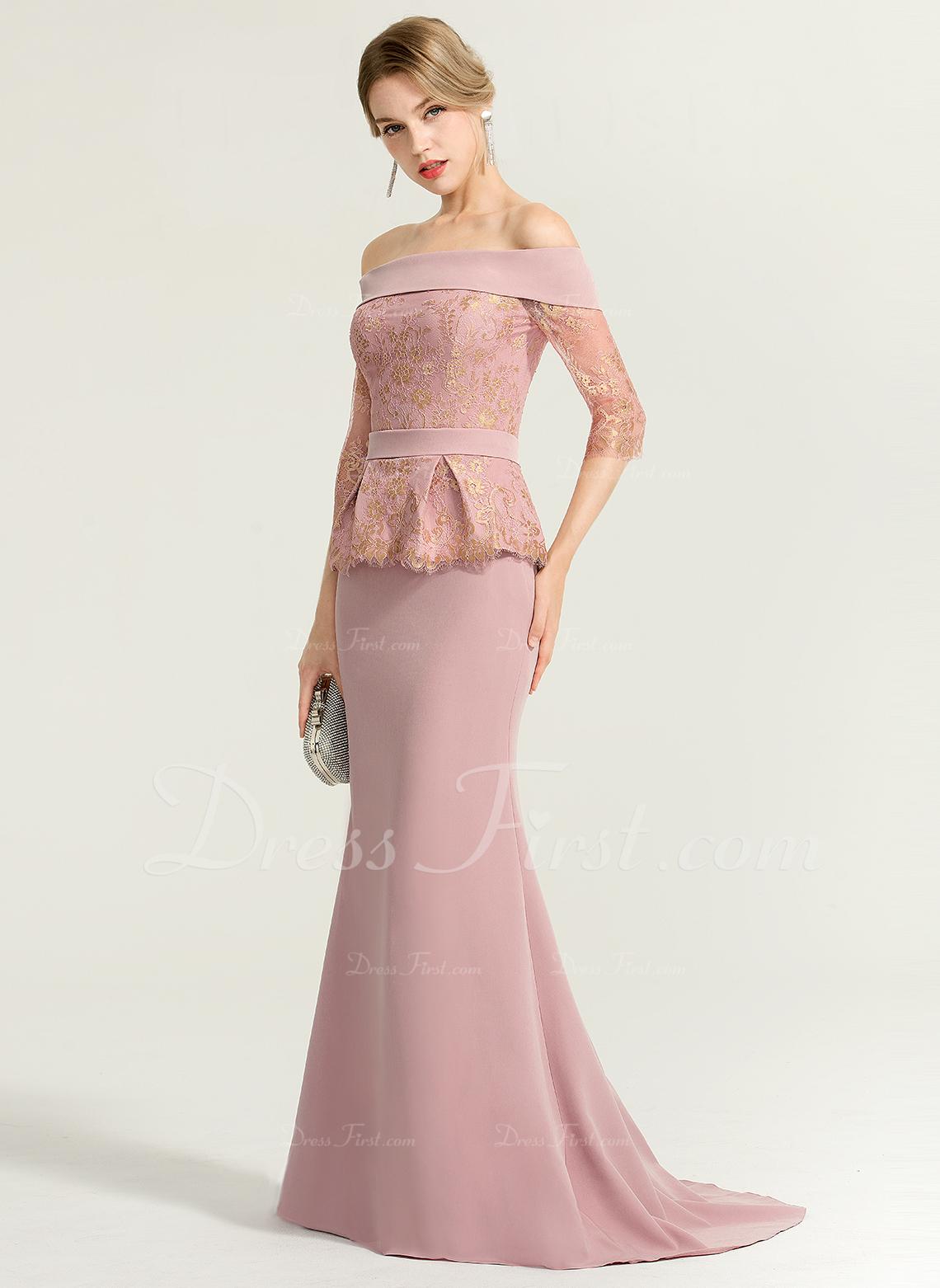 f6bc8a7b Trumpet/Mermaid Off-the-Shoulder Sweep Train Stretch Crepe Evening Dress  #167691. Evening Dresses