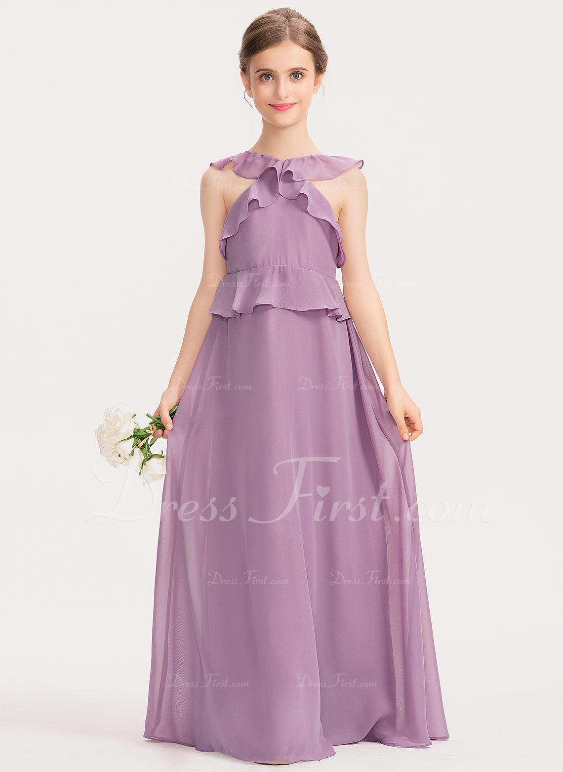 A-Line Scoop Neck Floor-Length Chiffon Junior Bridesmaid Dress With Cascading Ruffles