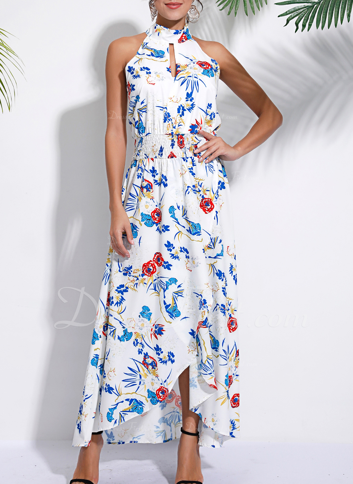 Floral Print A-line Sleeveless Asymmetrical Casual Vacation Dresses