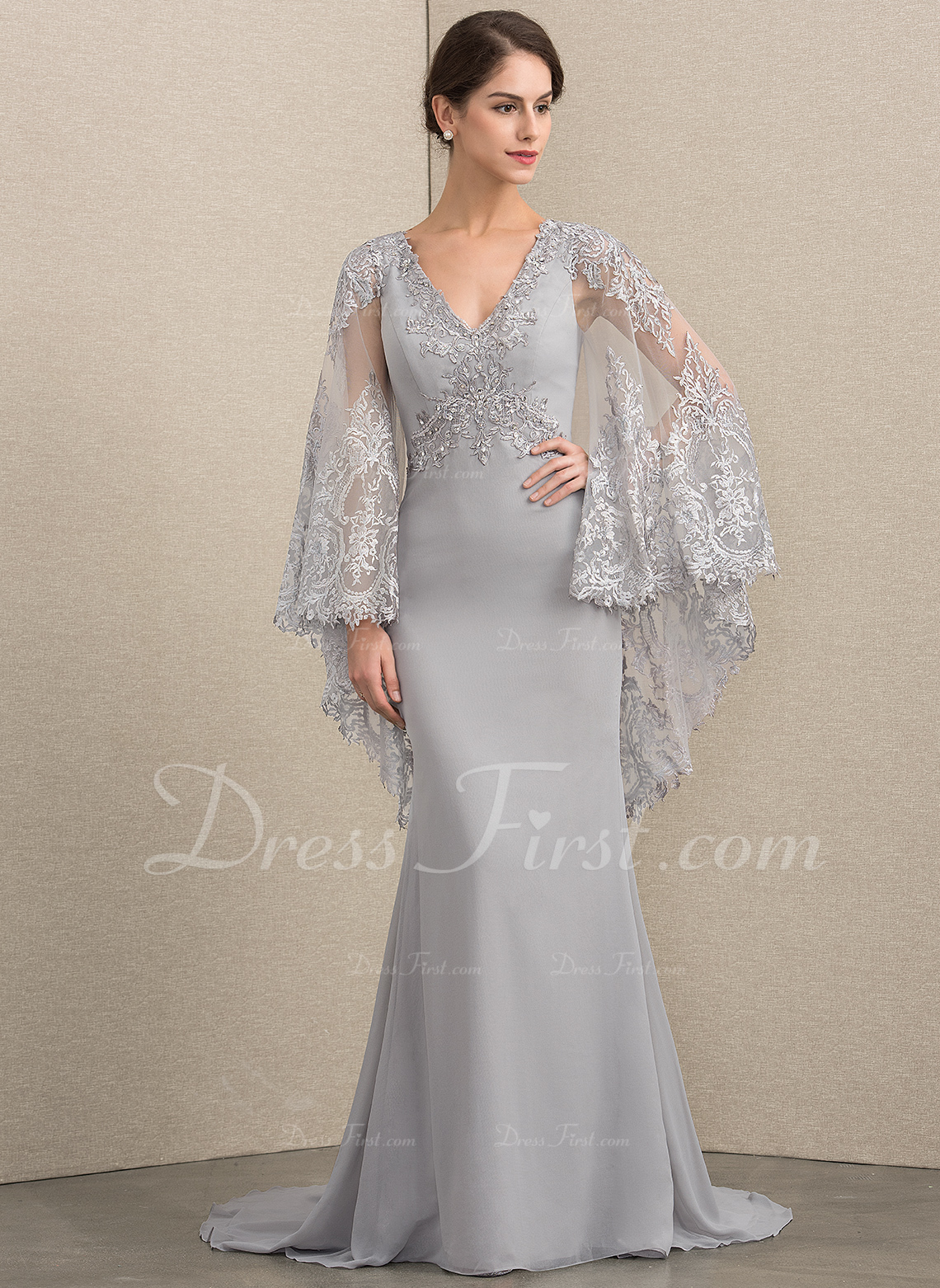 8eed69199523 Loading zoom. Loading. Color: As Picture. Trumpet/Mermaid V-neck Sweep Train  Chiffon Lace Mother of the Bride Dress With Beading Sequins ...