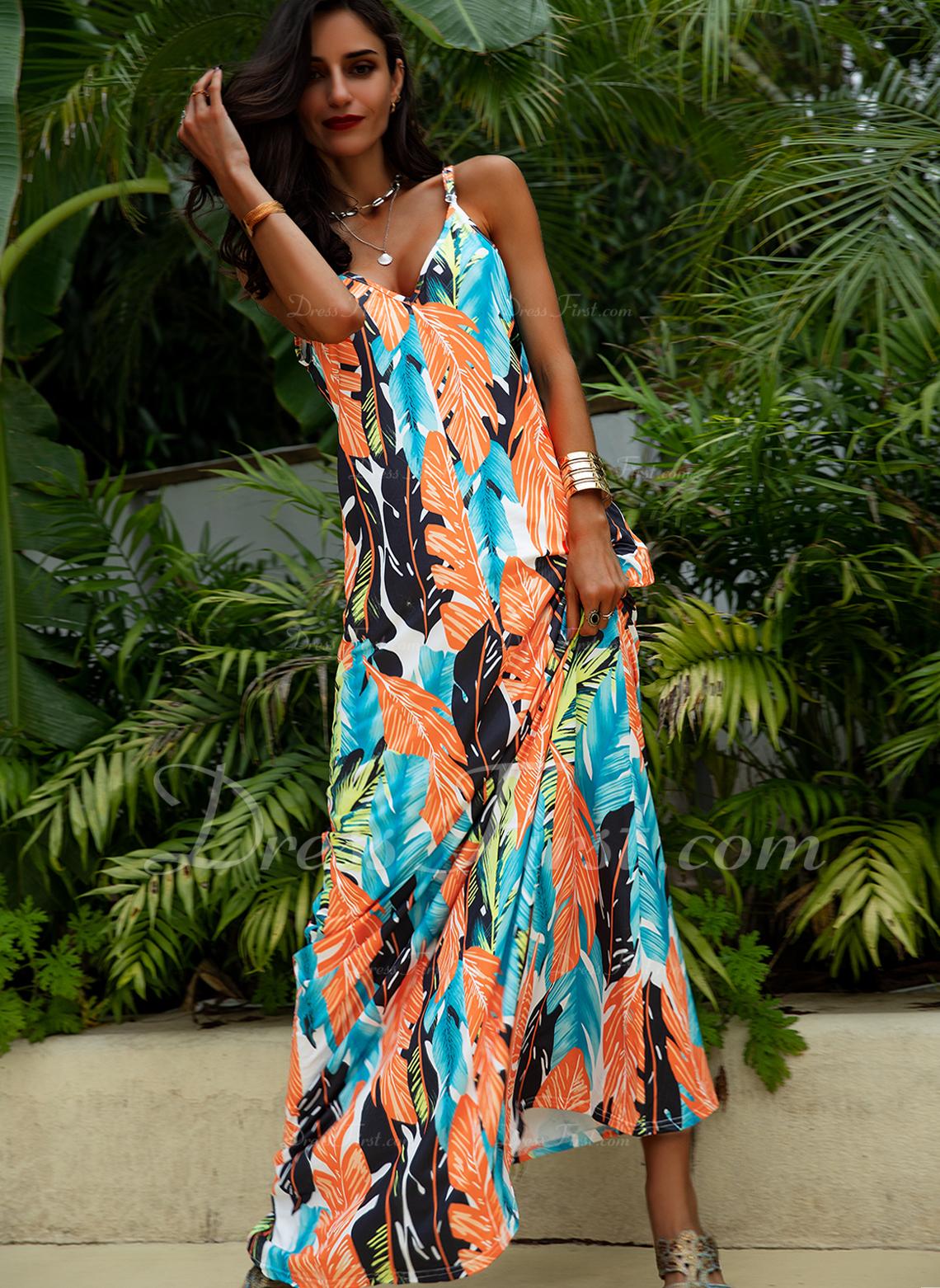 Print Shift Sleeveless Maxi Casual Vacation Type Dresses