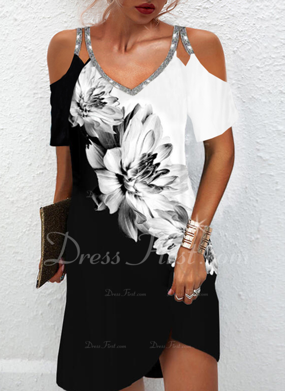 Trozos de color Floral Impresión Vestidos sueltos Manga Corta Mini Elegante Túnica Vestidos de moda