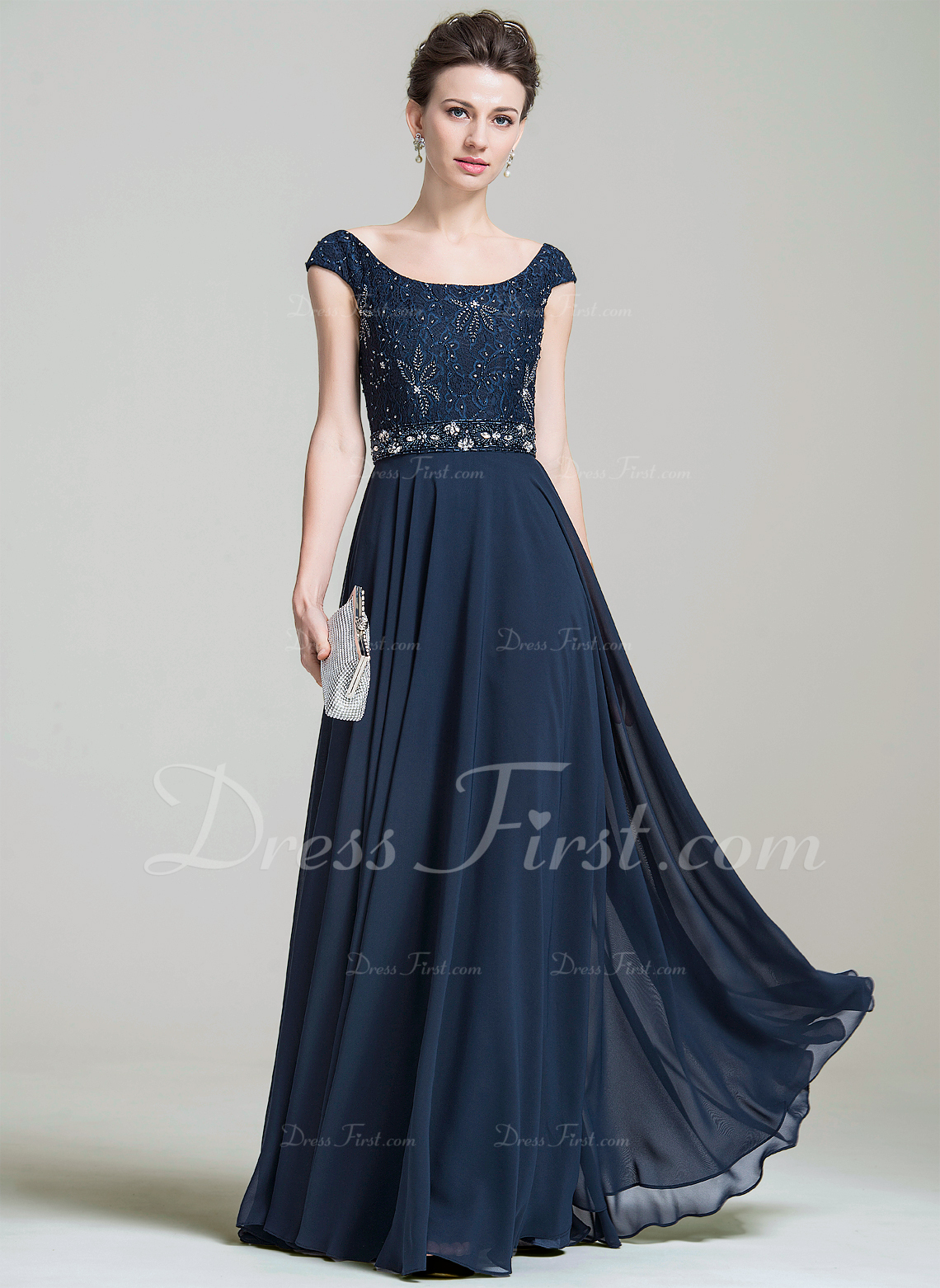 d3ec8f1f41c A-Line Princess Scoop Neck Floor-Length Chiffon Lace Mother of the Bride  Dress With Beading Sequins  74200