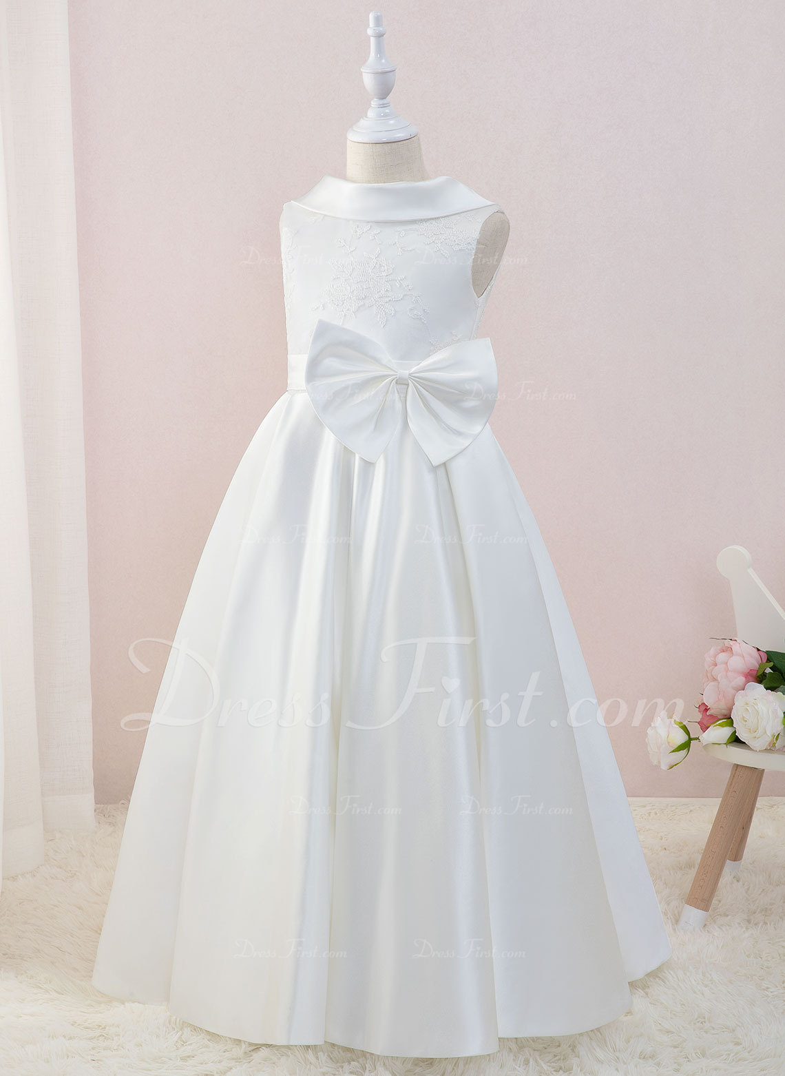 Details about  /Princess Floor Length Flower Girl Dress Lace Tulle Sleeveless Scoop Neck with