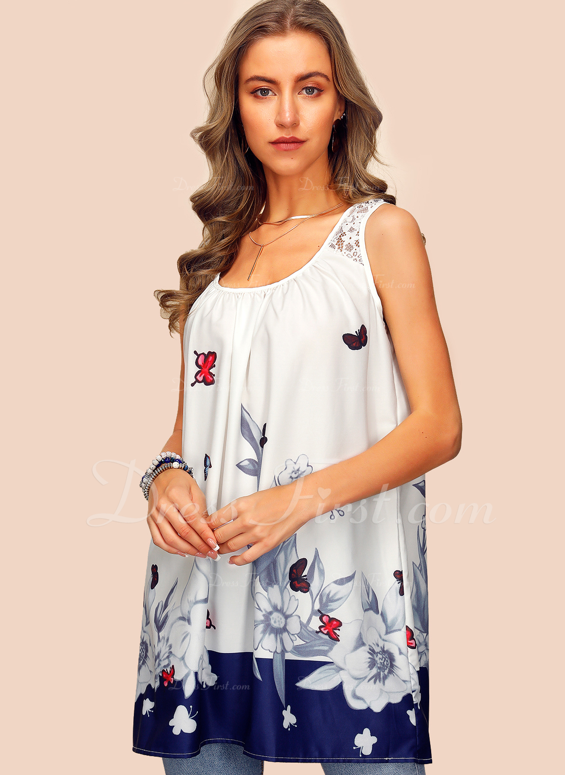 Impresión Sin mangas mezcla de algodón Cuello redondo Camisetas sin mangas Blusas