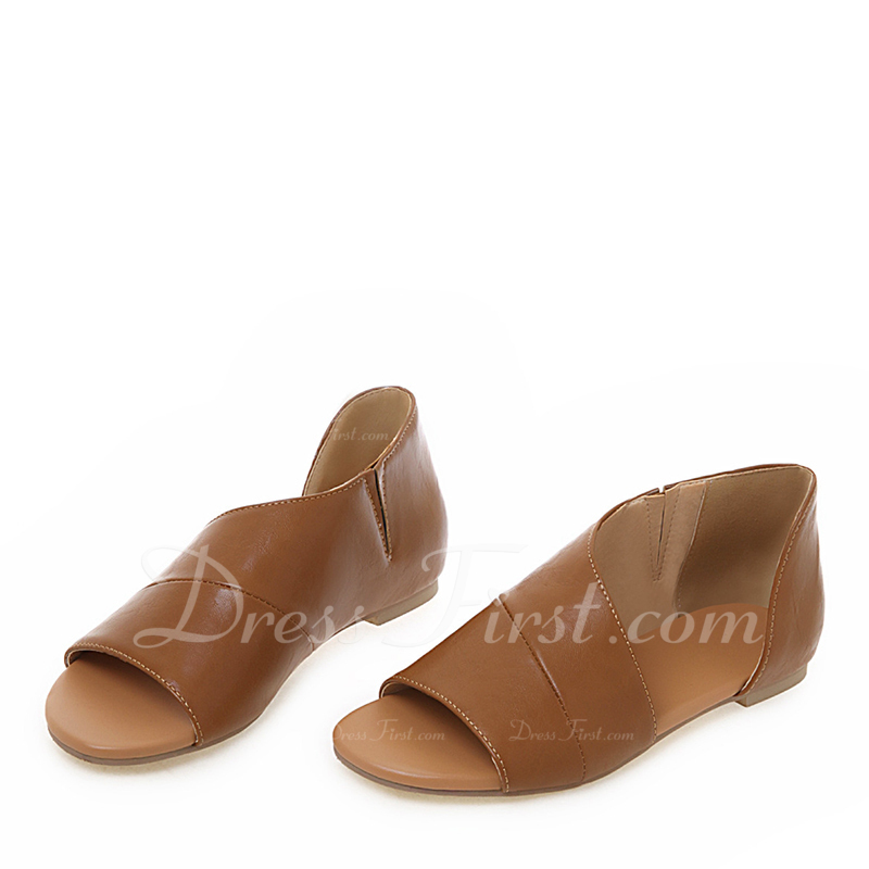 Kvinner Lær Flat Hæl Sandaler Flate sko Titte Tå med Delt Bindeled sko