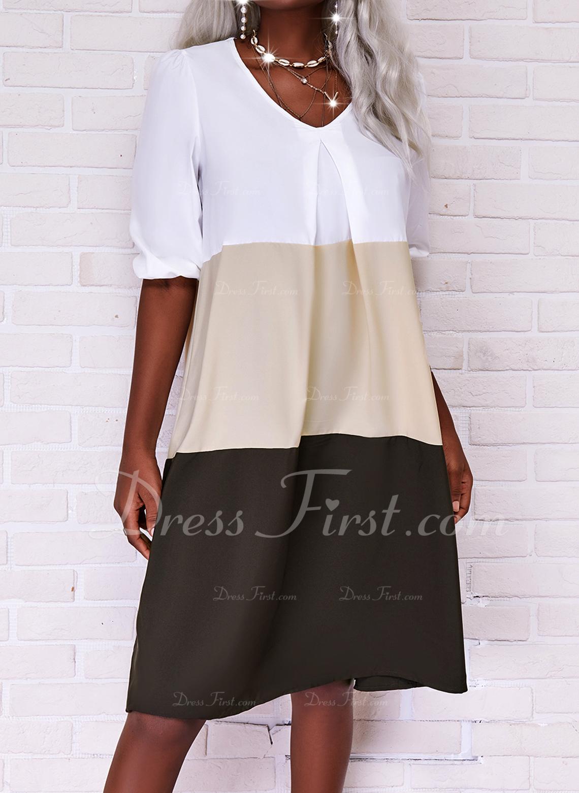 Trozos de color Vestidos sueltos Mangas 3/4 Midi Casual Túnica Vestidos de moda