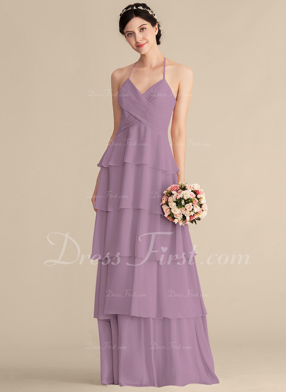 115925617f4ec Loading zoom. Loading. A-Line/Princess Sweetheart Floor-Length Chiffon  Bridesmaid Dress With Cascading Ruffles ...