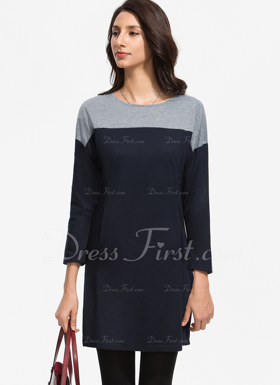 Color Block Skiftekjoler Lange ærmer Midi Mini Casual Tunika Mode kjoler