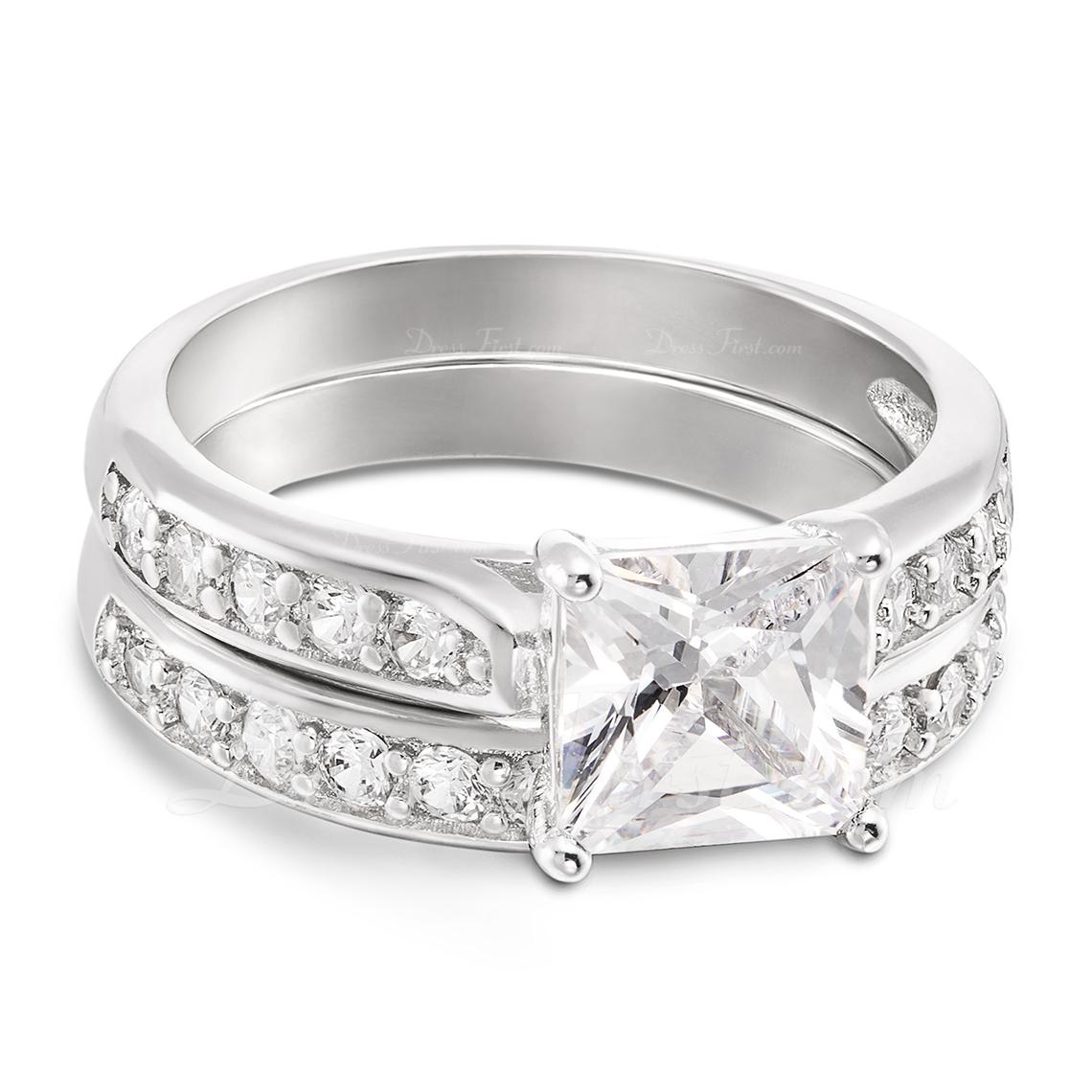 Sterling Silver Cyrkonia Aureola Princess Cut Zestawy ślubne -