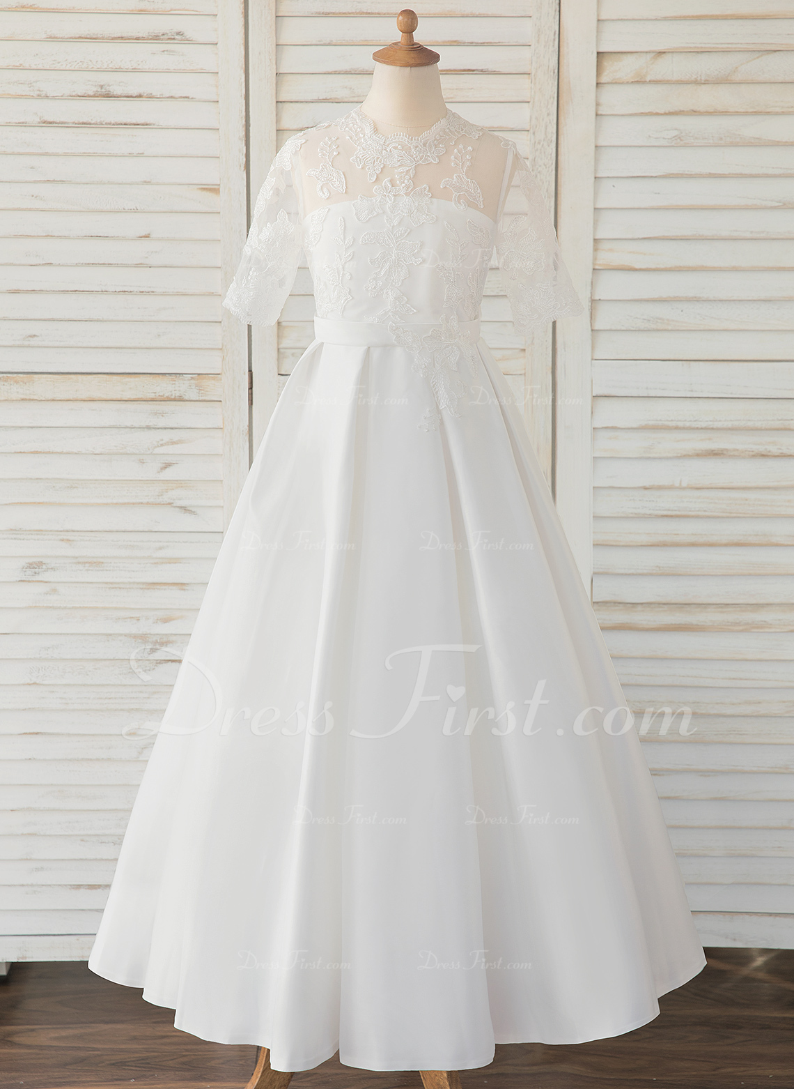 a49e4ca4504 A-Line Floor-length Flower Girl Dress - Satin Lace 1 2 Sleeves Scoop Neck   183556